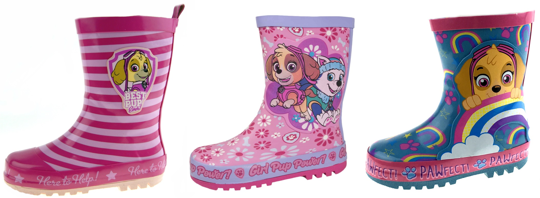 Kids Childrens Girls Pink Glitter Paw Patrol Wellies Snow Rain Wellington Boots