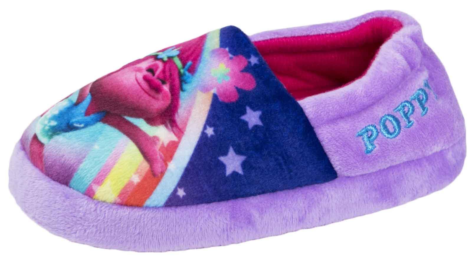 Girls Trolls Slippers Slip On Mules Purple Rainbow Booties Comfort Shoes Size