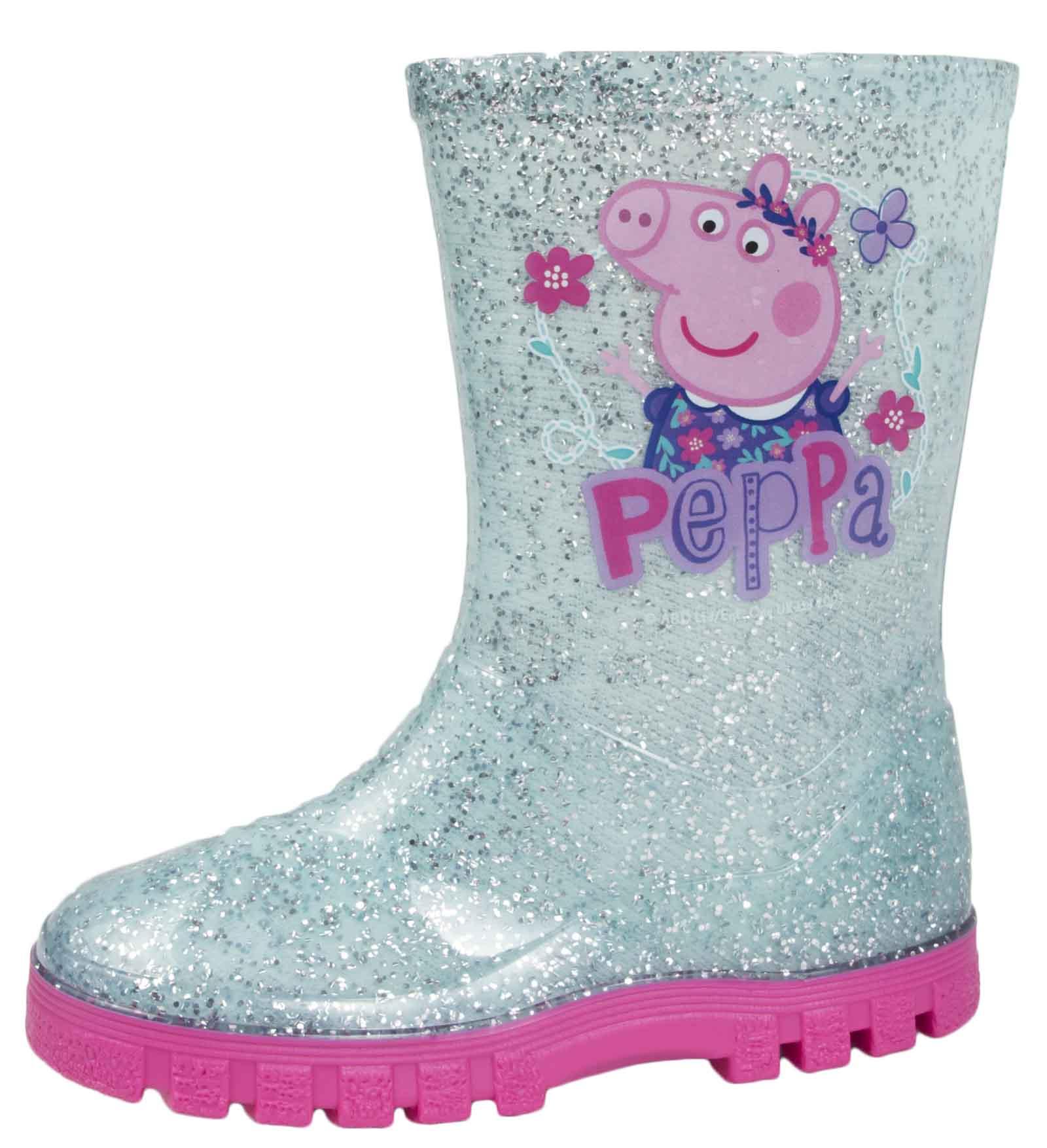 Girls Peppa Pig Wellington Boots Mid Calf Gitter Snow Rain Wellies Kids Size