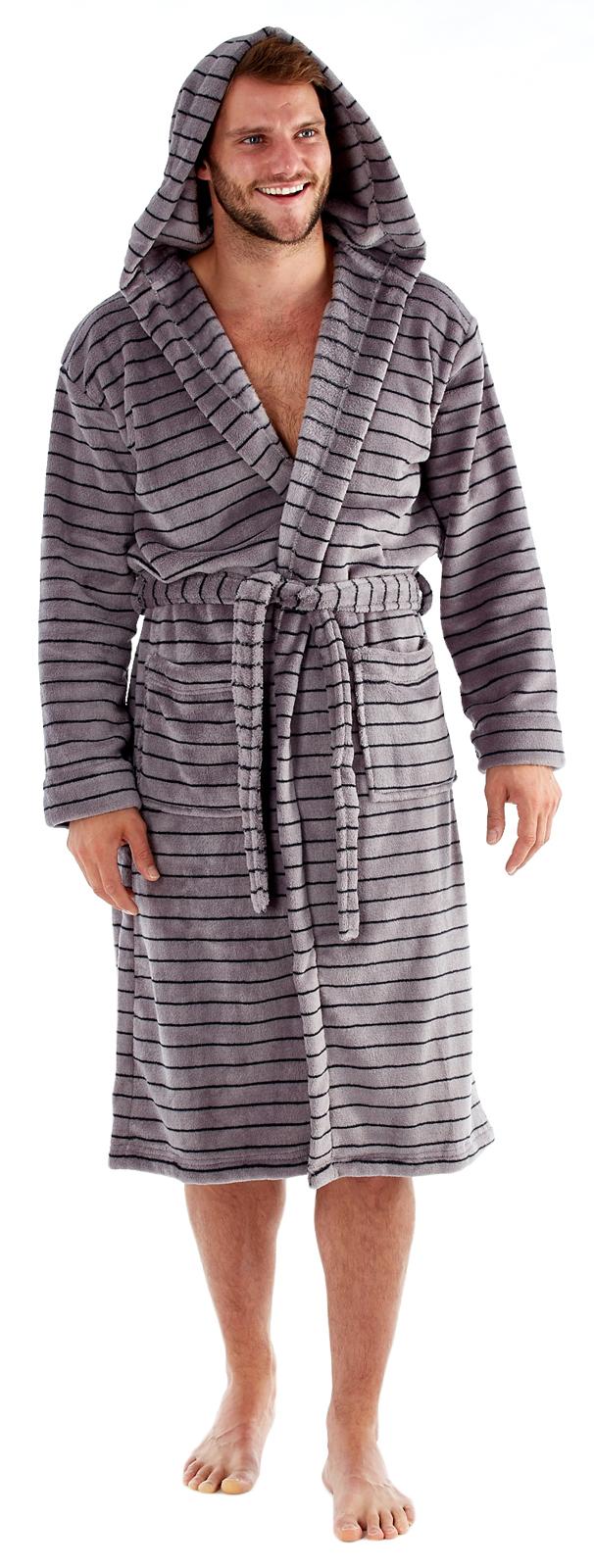 Luxury Mens Robe Winter Warm Fleece Dressing Gown Bathrobe Housecoat ...