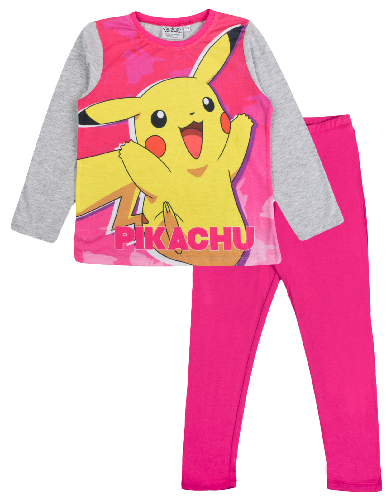 Girls Pokemon Long Pyjamas Kids Pikachu 2 Piece Pjs Nightwear Set Pink Size