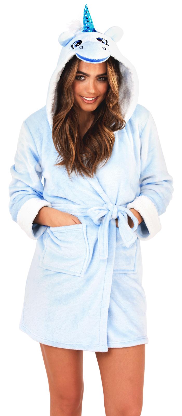 Womens Short Luxury Fleece Dressing Gown Belt Bath Robe