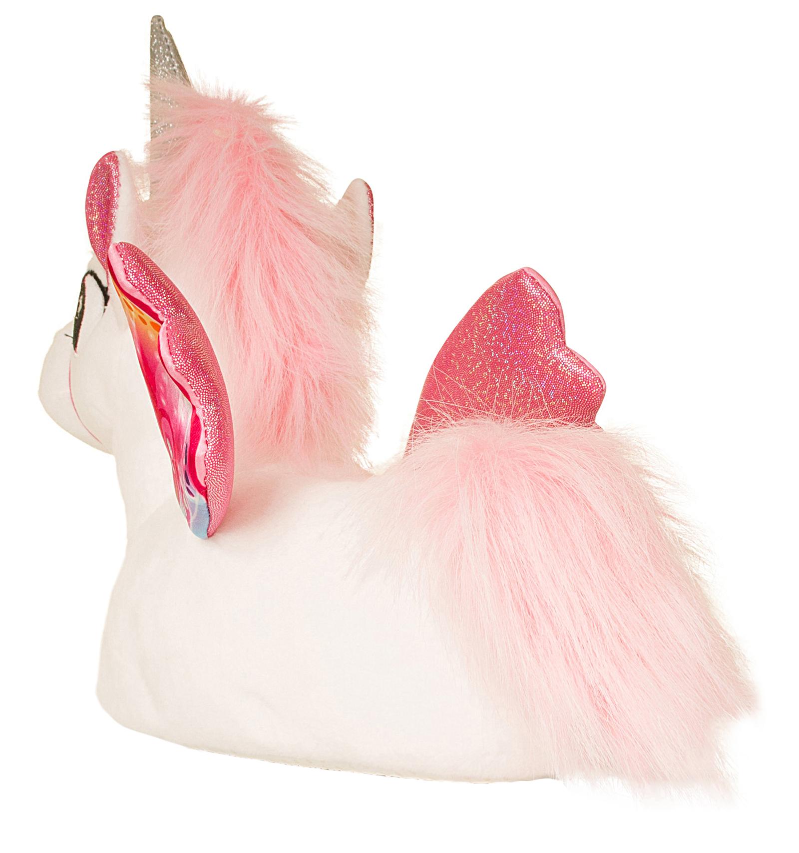 bea6f39efea8 Womens Girls Novelty 3D Character Plush Unicorn Slippers Ladies Gift ...
