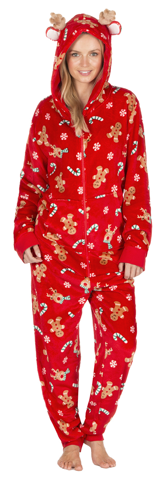 Womens Novelty Christmas Dressing Gown Onezie Xmas All In One Fleece ...