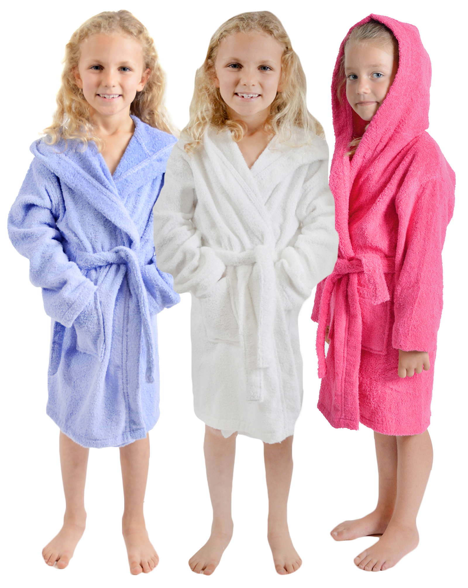 ab788e60ec Girls 100% Cotton Towelling Dressing Gown Hooded Bath Robe Xmas Gift Kids  Size