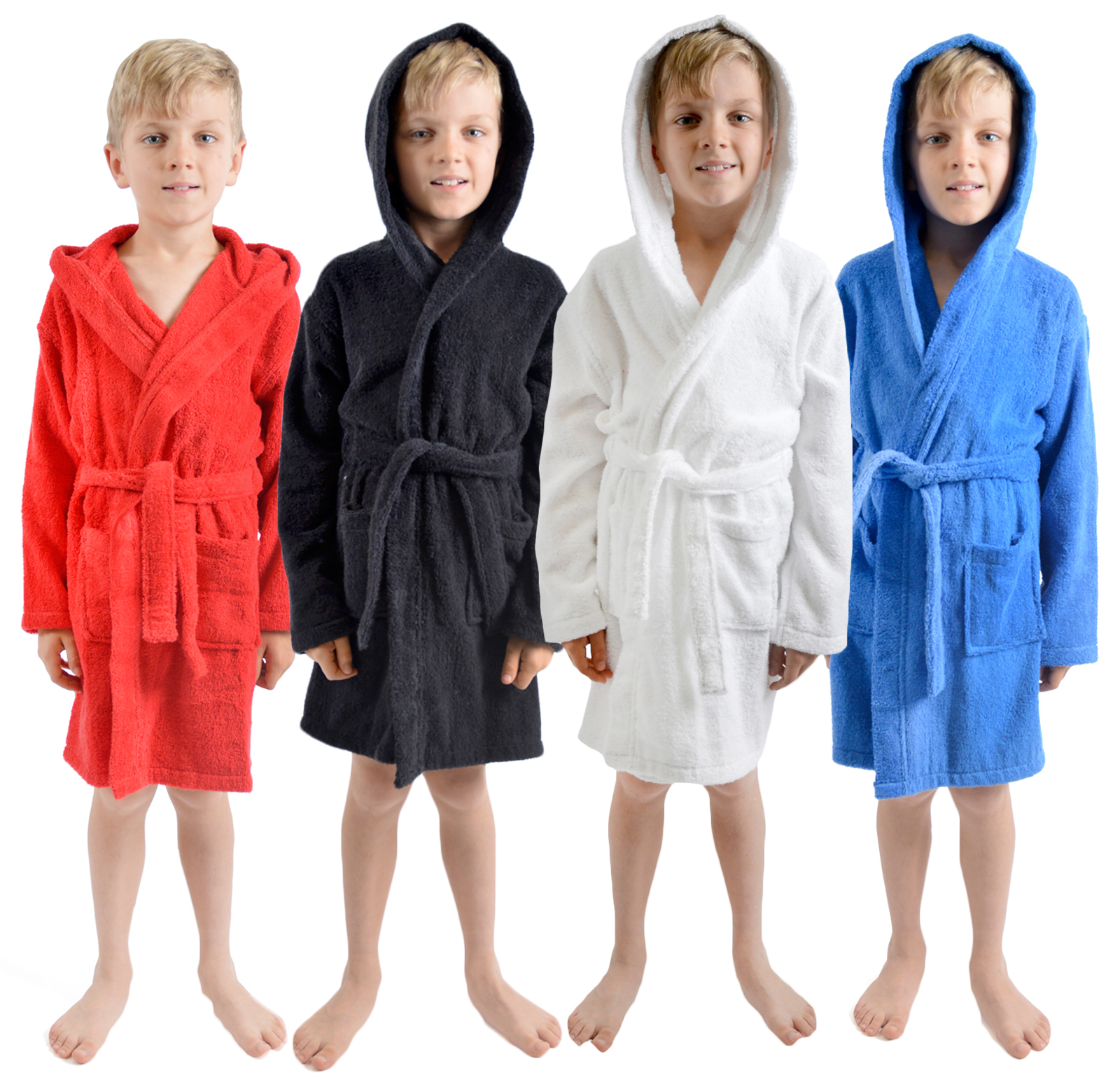 Kids Bathrobe Boys Girls 100/% Cotton Towelling Dressing Gown Soft Towel Hooded