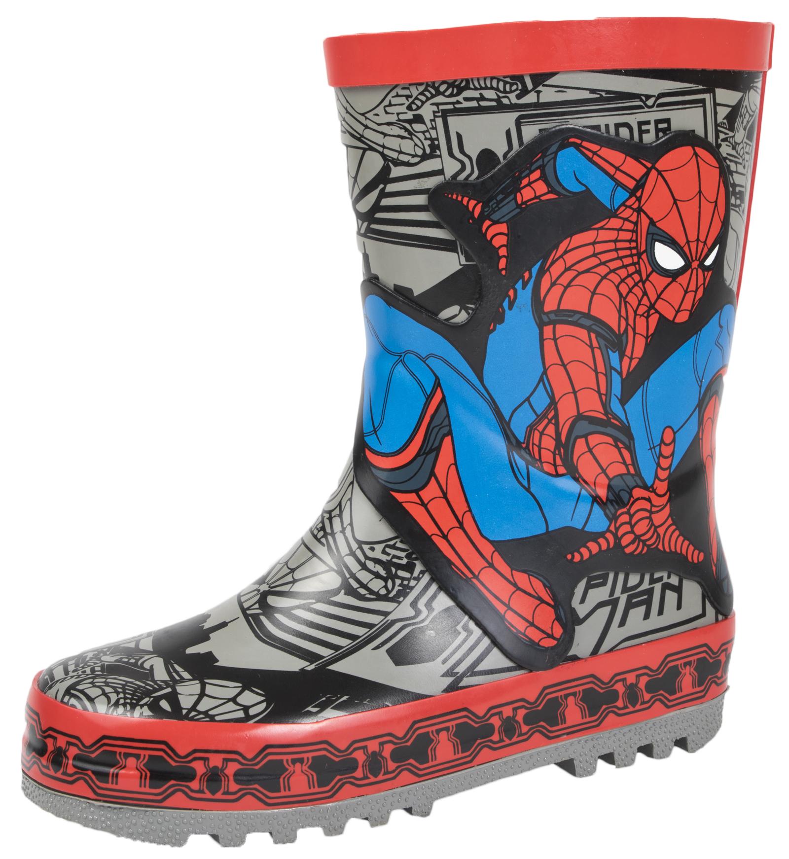 8afdfe701c7 Details about Spiderman Wellington Boots Boys Marvel Superhero Wellies  Rubber Snow Boots Size