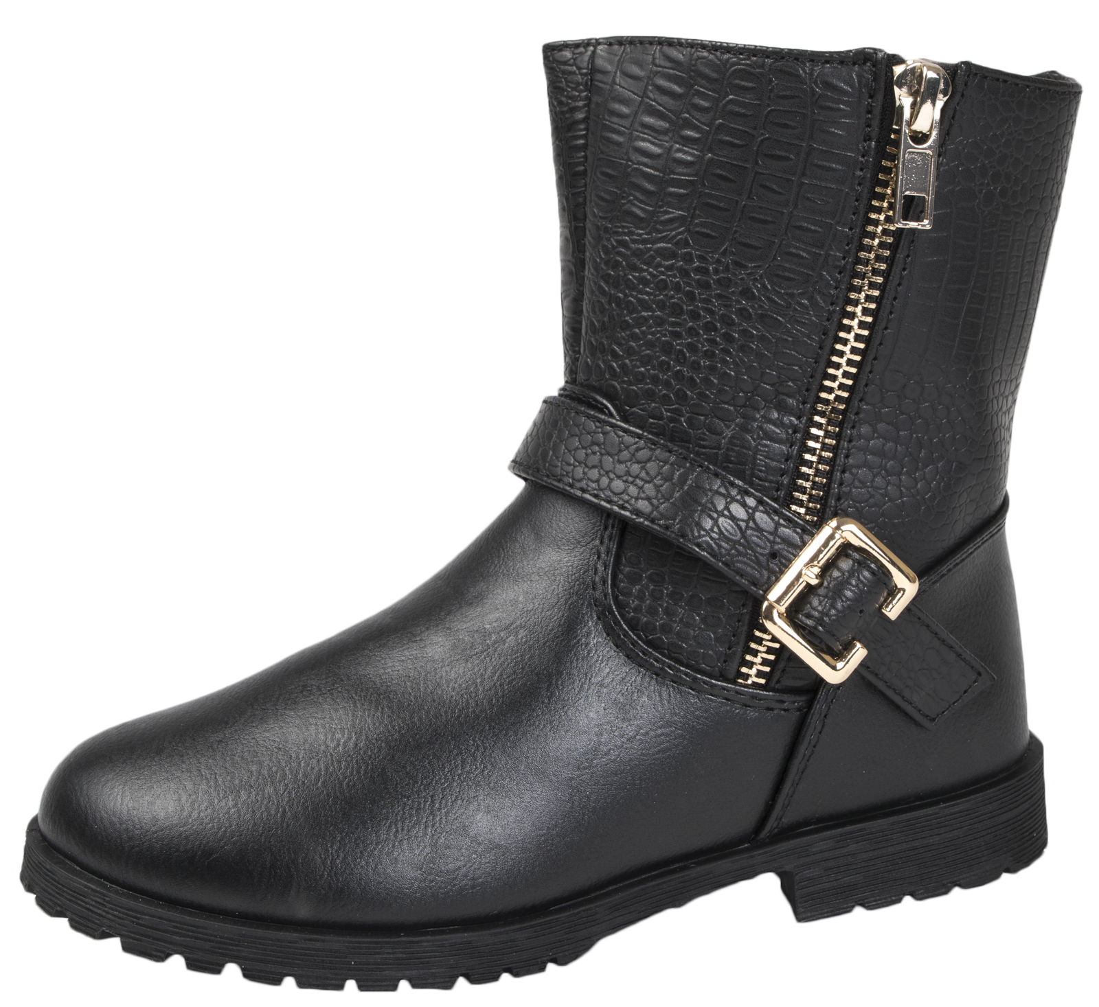 BMS Buckle My Shoe Girls Mid Calf Black Boots Faux Leather School Shoes Size