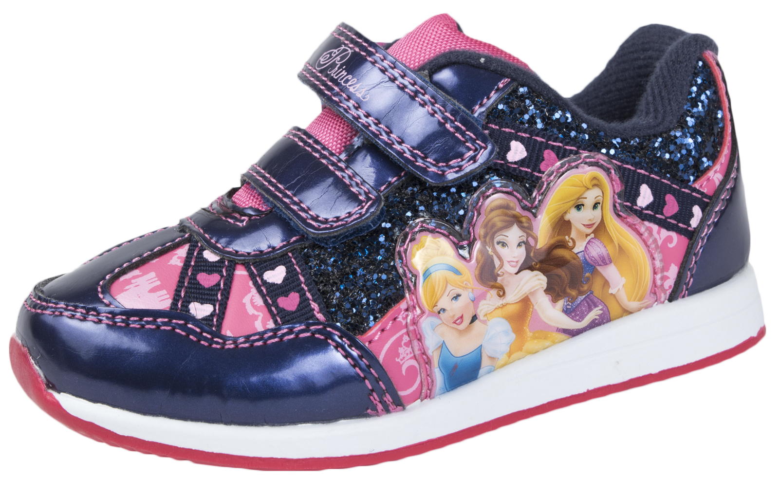 Disney Princess Glitter Trainers Easy Touch Skate Pumps Cinderella Belle Shoes