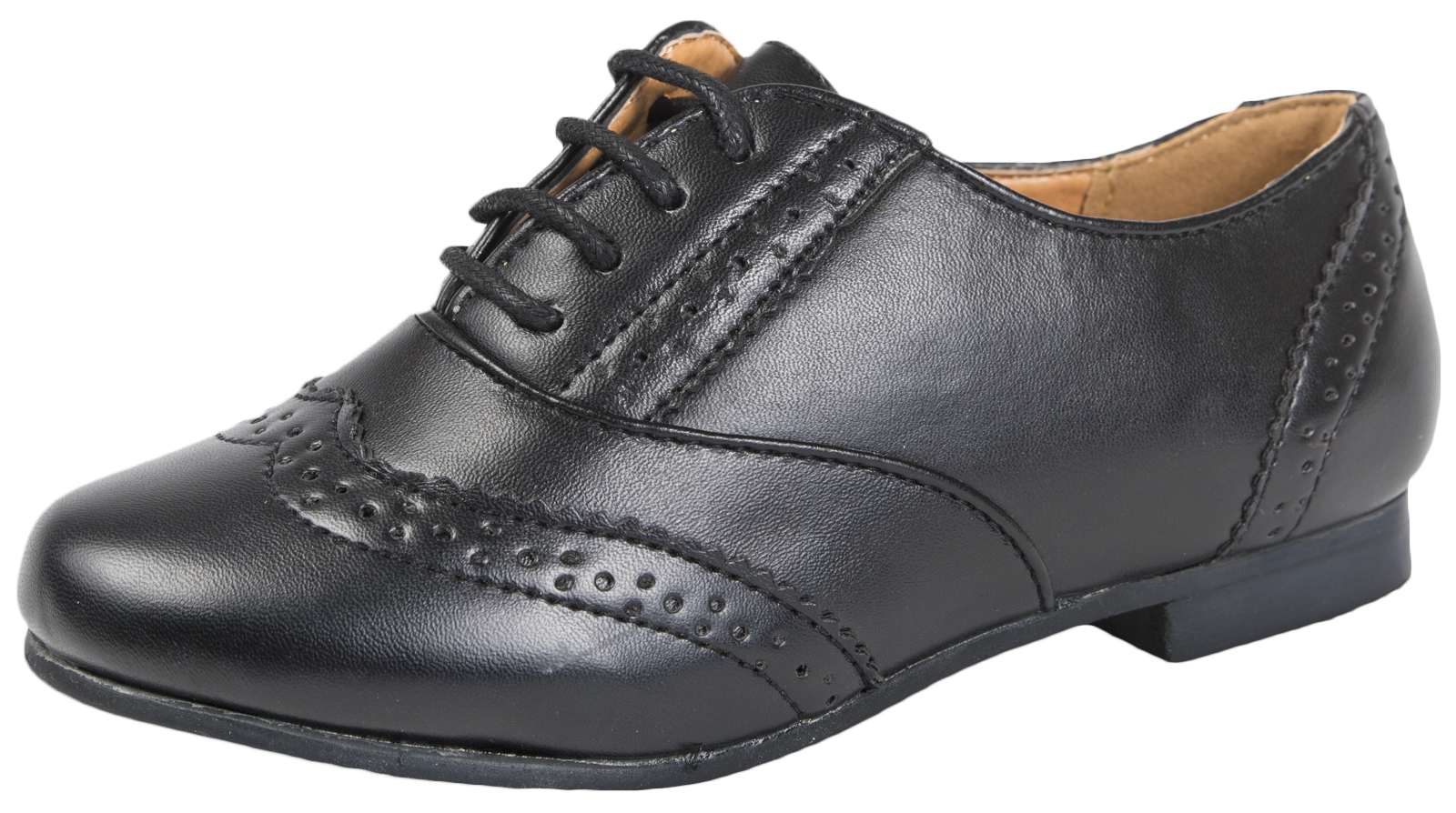 91abf169d Girls Lace Up Brogues Black School Shoes Patent Womens Formal Work ...