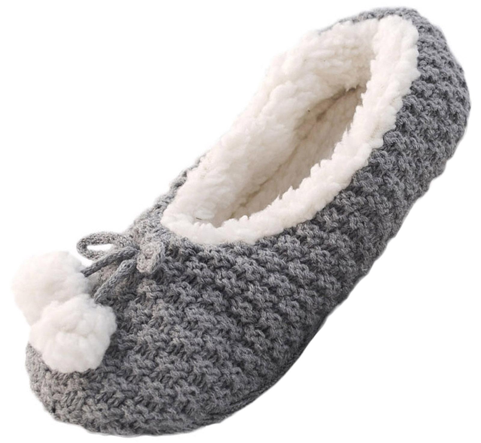 Womens Sequin Sherpa Fur Lined Slipper Socks Ladies