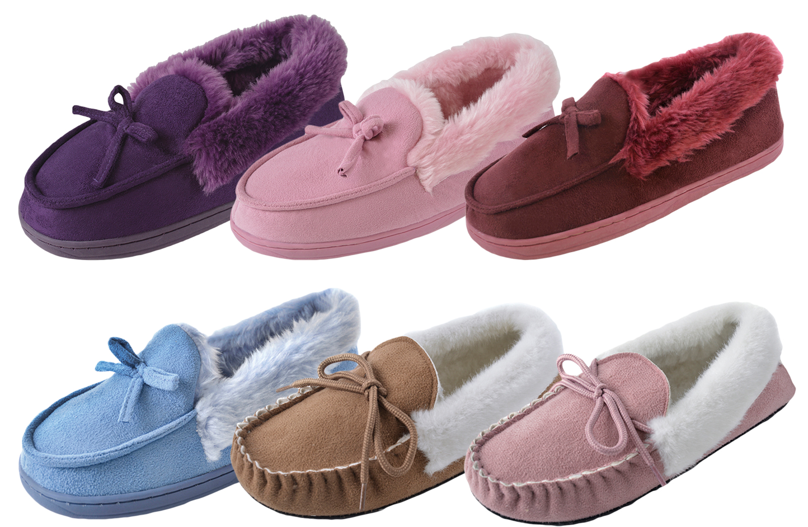 ad8d34d0d1899 Image is loading Womens-Luxury-Faux-Fur-Lined-Moccasins-Ladies-Comfort-