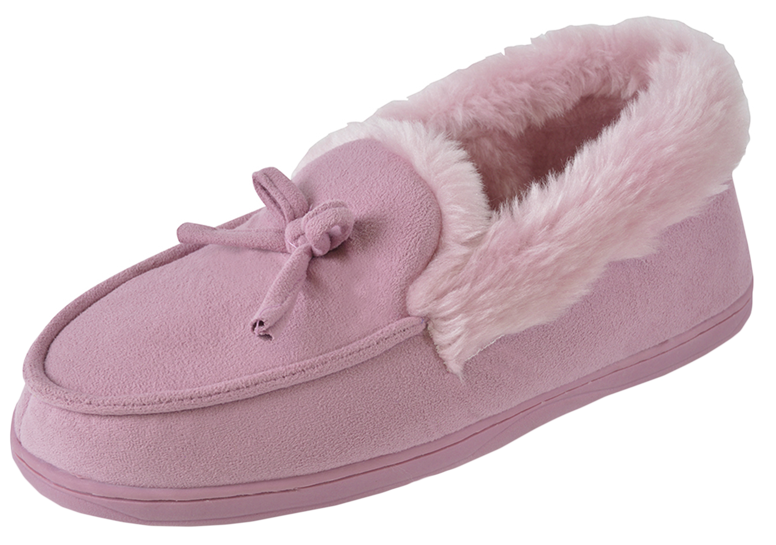 1d9ed8b8ba3d5 Womens Luxury Faux Fur Lined Moccasins Ladies Comfort Slippers Xmas ...