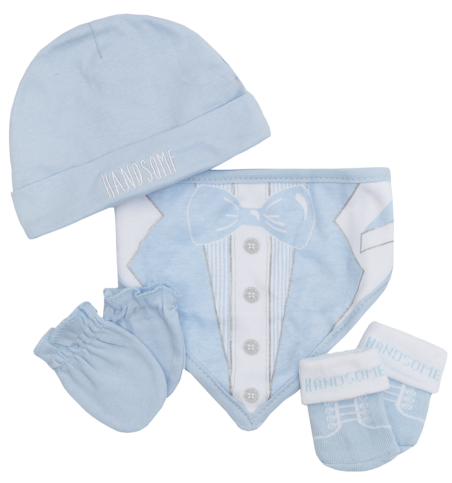 Baby Boys Girls 4 Piece Gift Set Bib Socks Booties Mittens Hat Cute