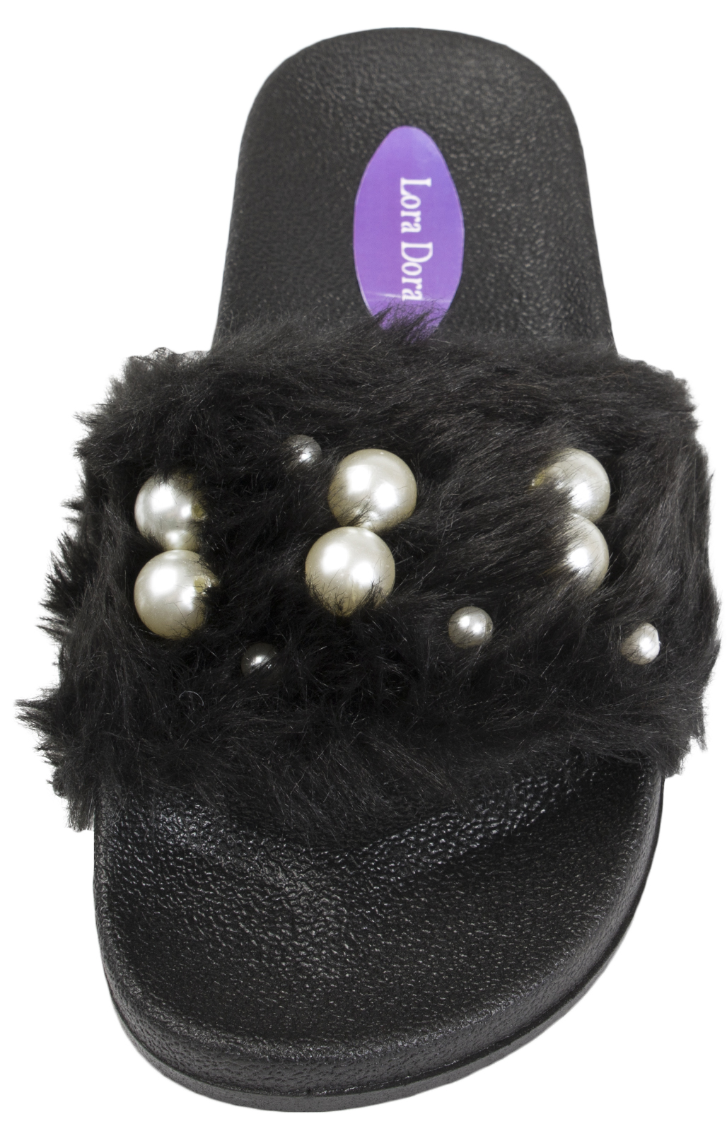 a73875bdc232 Womens Diamante Fur Sliders Fluffy Mules Slippers Flip Flops Sandals ...