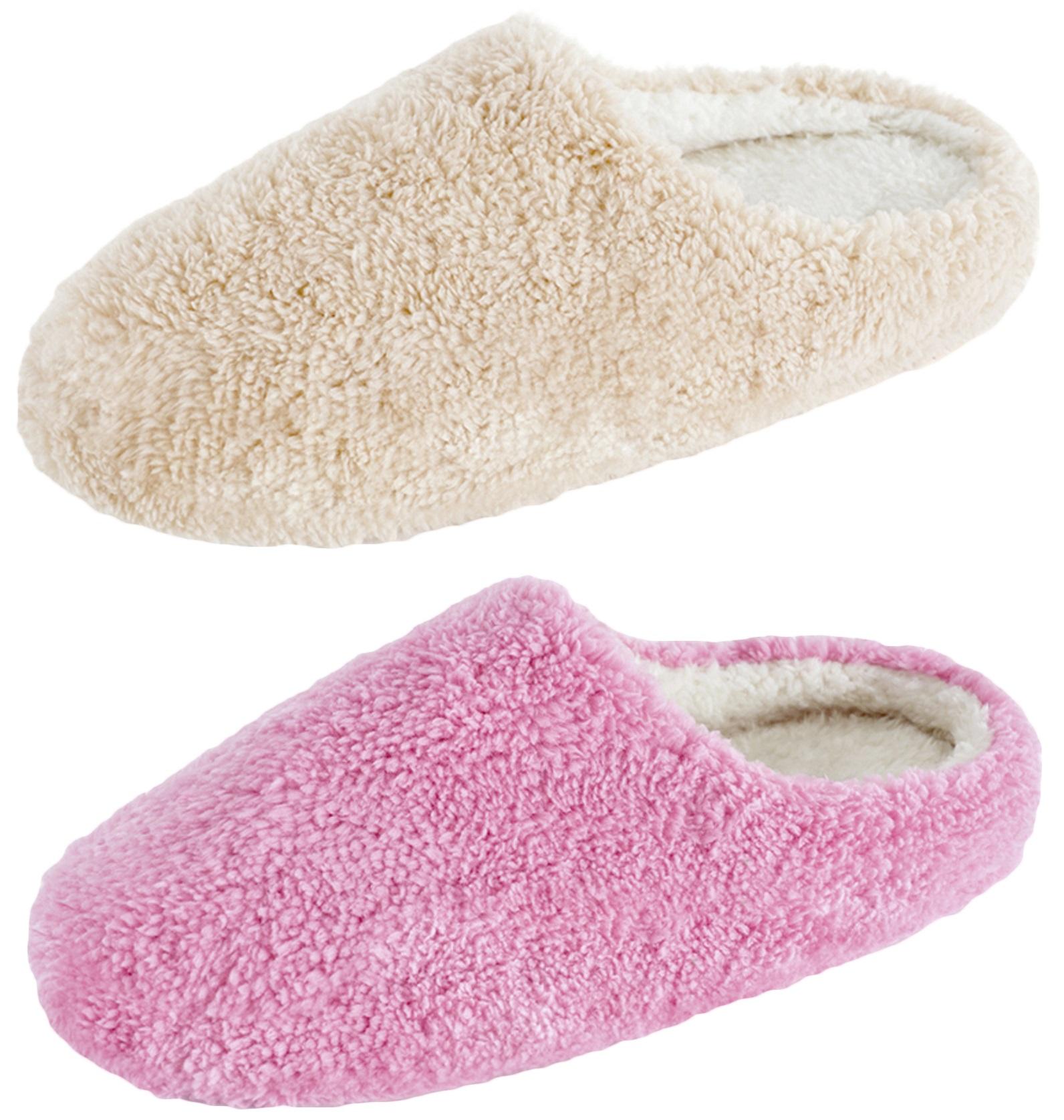 Luxury Womens Memory Foam Slippers Sherpa Fleece Lined Mules