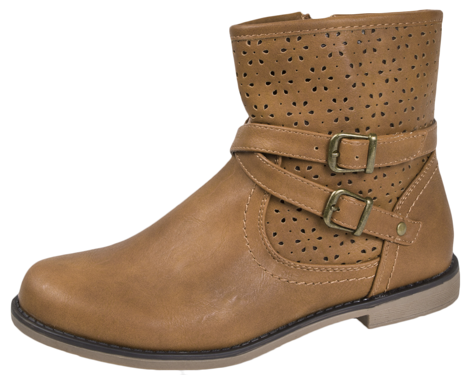 ae51d97c396 Details about Girls Faux Leather Mid Calf Ankle Boots Tan Brown Cut Out  Floral Cowboy Roper