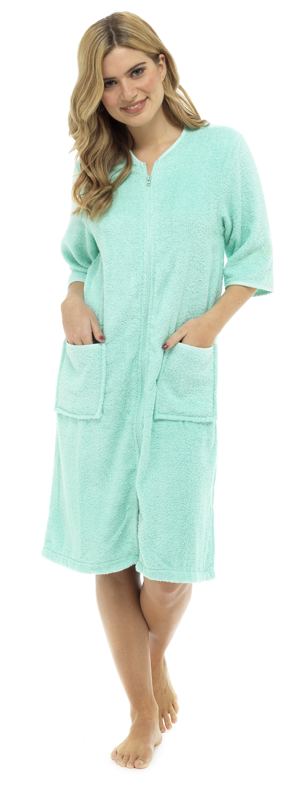 Womens 100 Cotton Zip Robe Dressing Gown Terry Towelling