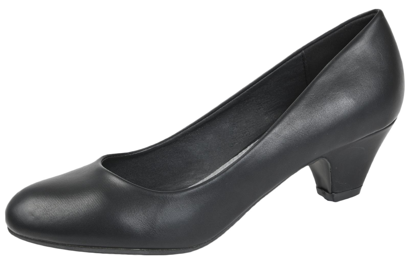 Ladies-Leather-Lined-Low-Block-Heels-Comfort-Work-Office-Court-Shoes-Ladies-Size miniatuur 19