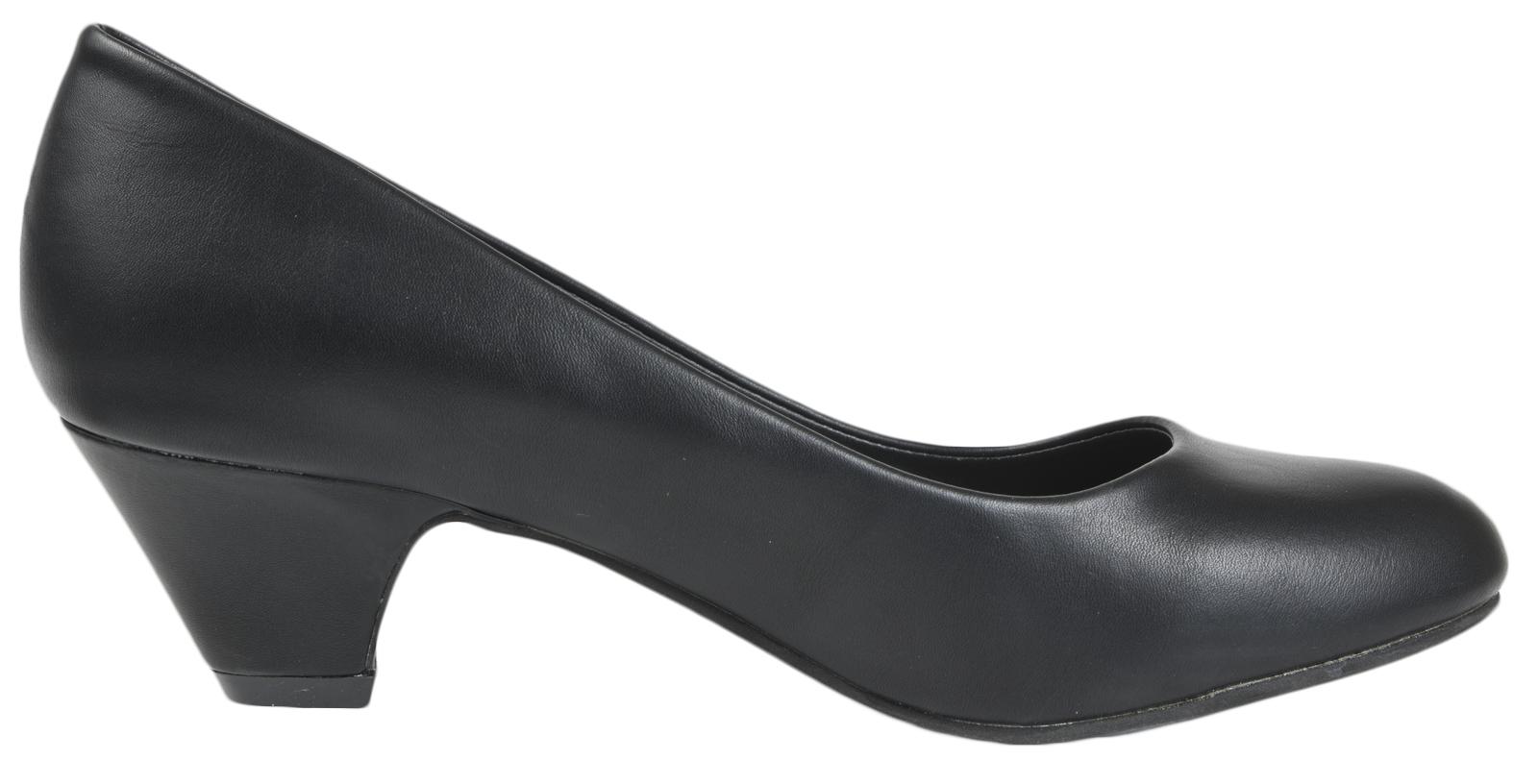 Ladies-Leather-Lined-Low-Block-Heels-Comfort-Work-Office-Court-Shoes-Ladies-Size miniatuur 21