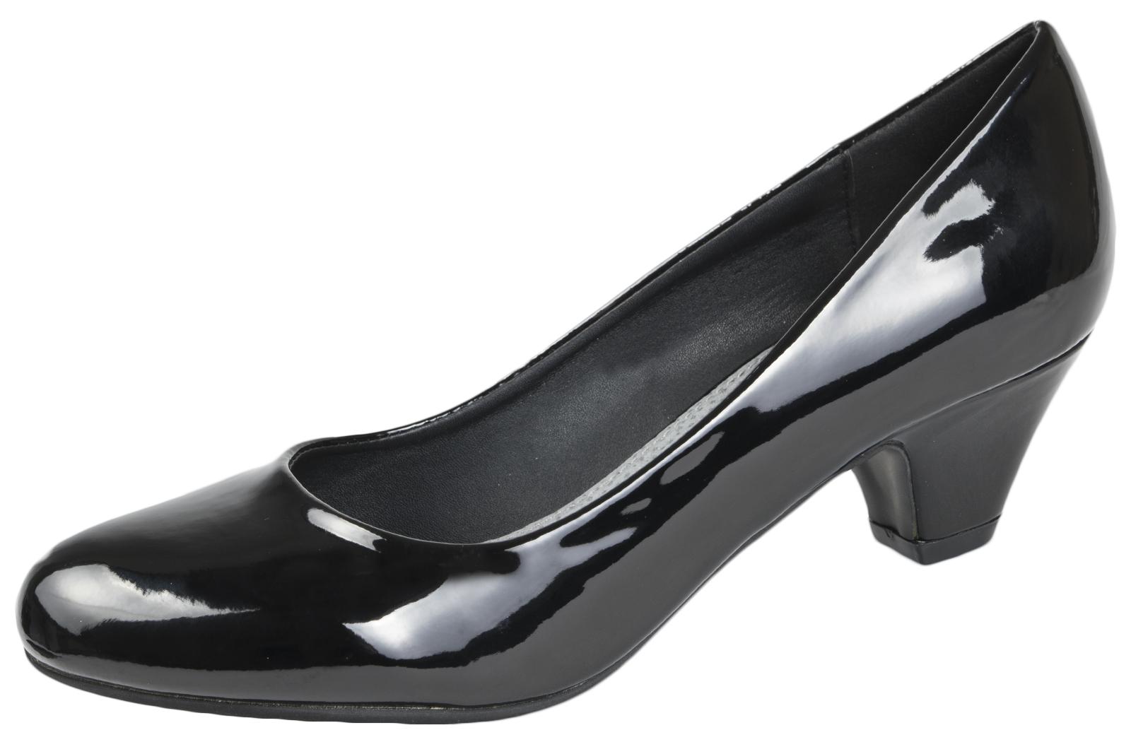 Ladies-Leather-Lined-Low-Block-Heels-Comfort-Work-Office-Court-Shoes-Ladies-Size miniatuur 36