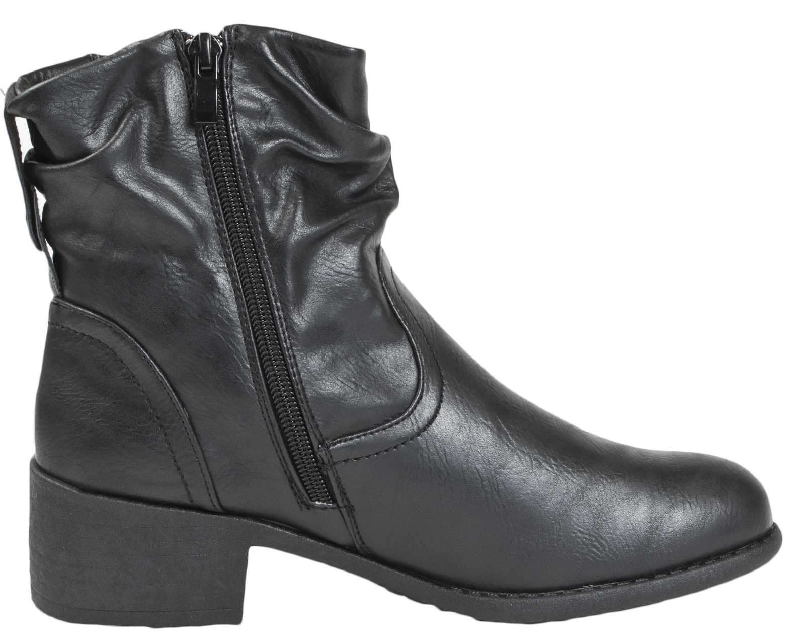 f77d9e64caad Womens Comfort Low Heel Classic Ankle Boots Faux Leather Zip Or Lace ...