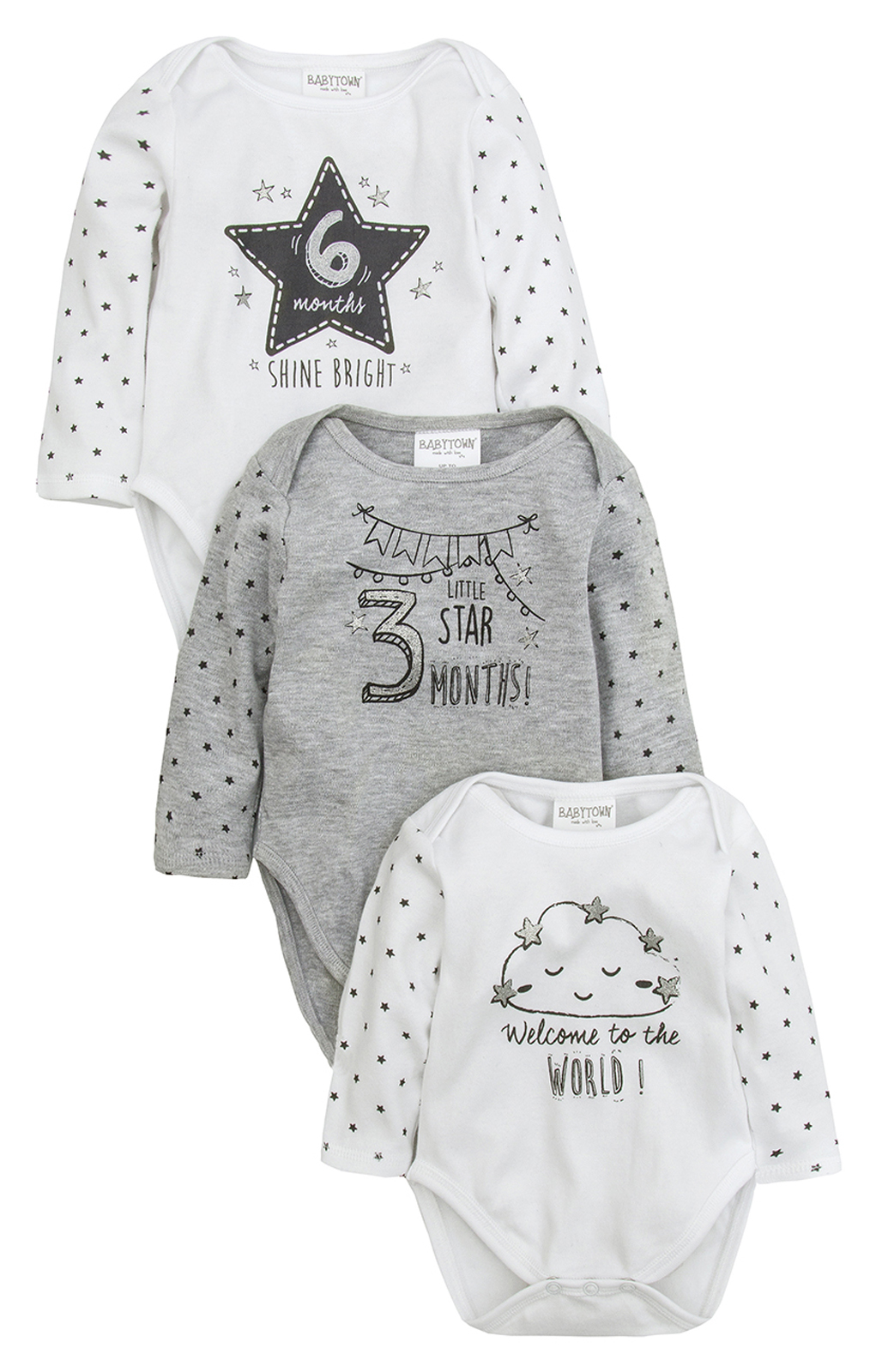 2fc0d7457211 3 Pack Baby Boys Girls Milestone Bodysuits Vests Baby Grows New Baby ...