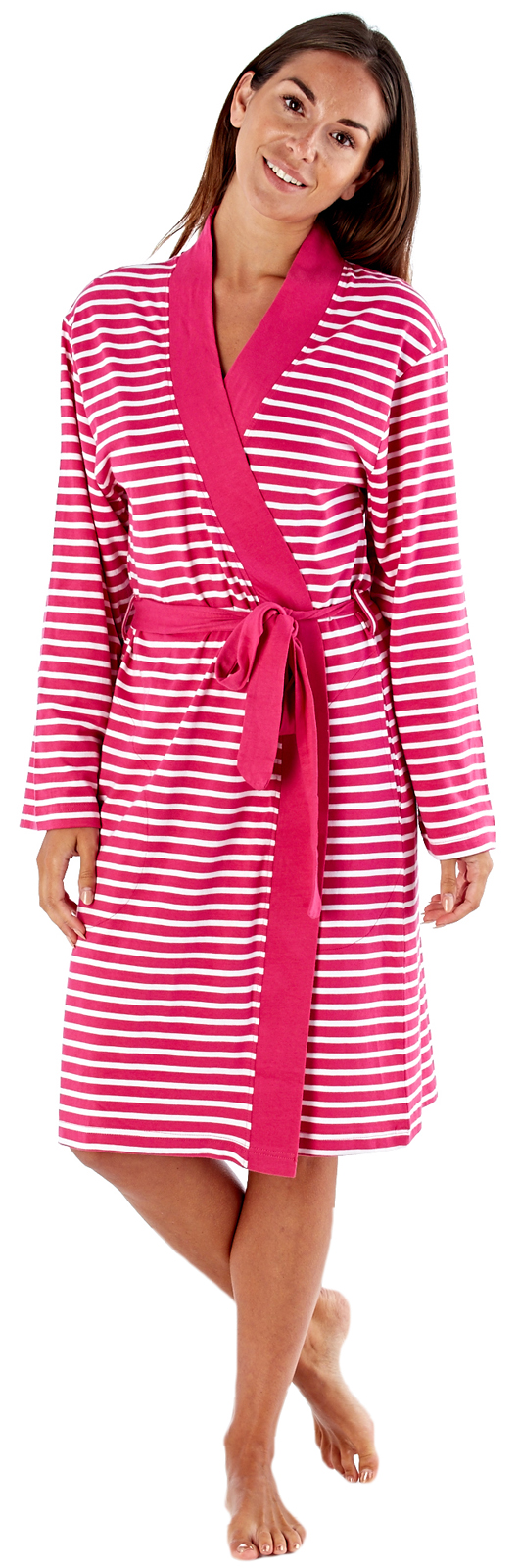 Womens 100% Cotton Waffle Bathrobe or Stripe Dressing Gown ...