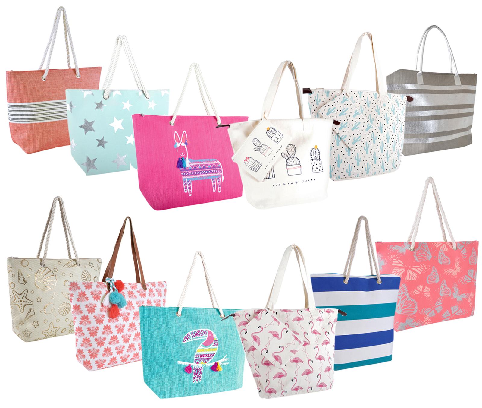 Beach Bags Womens Summer Tote Girls Large Canvas Beach Bag Zipped Closure features Beach Equipment