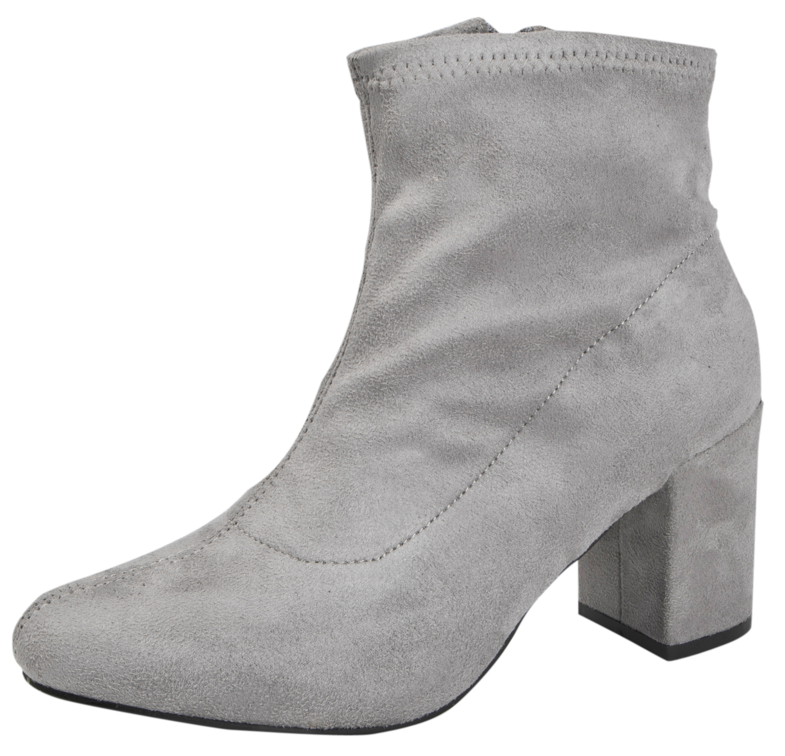 b2e759b8881 Details about Womens Chunky Block Heel Ankle Boots Faux Suede Velvet Sock  Top Boots Shoes Size