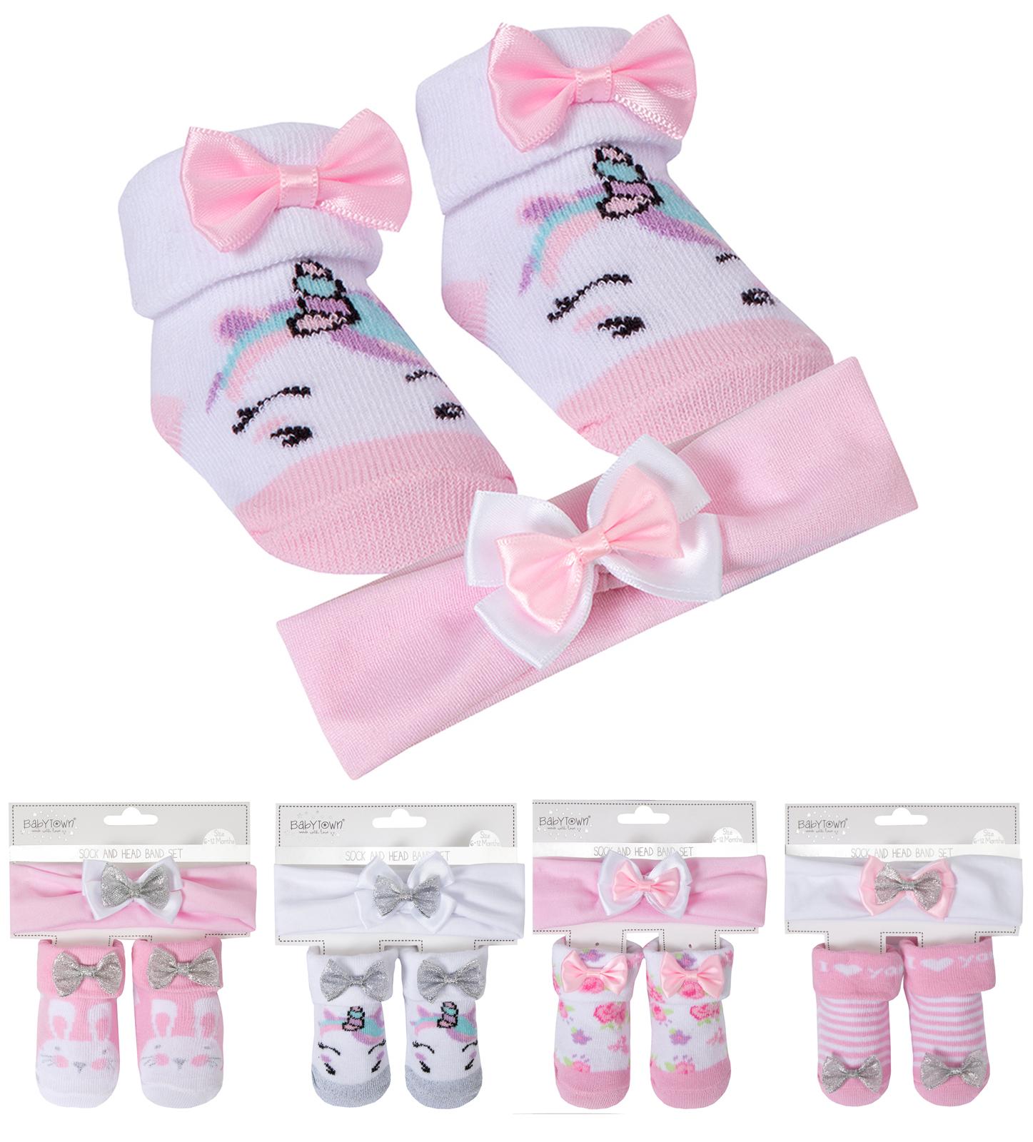 Baby Girls Headband Socks Gift Set Unicorn Glitter Bow Cute Babies