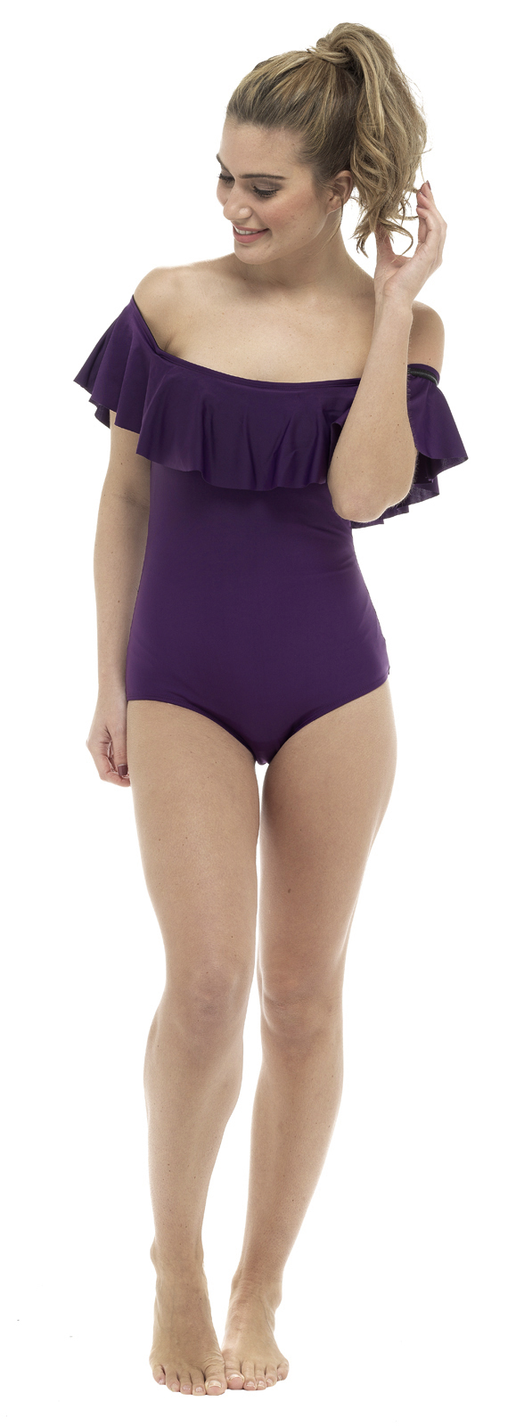 Womens Bardot Swimming Costume Support Control Swimsuit Off The