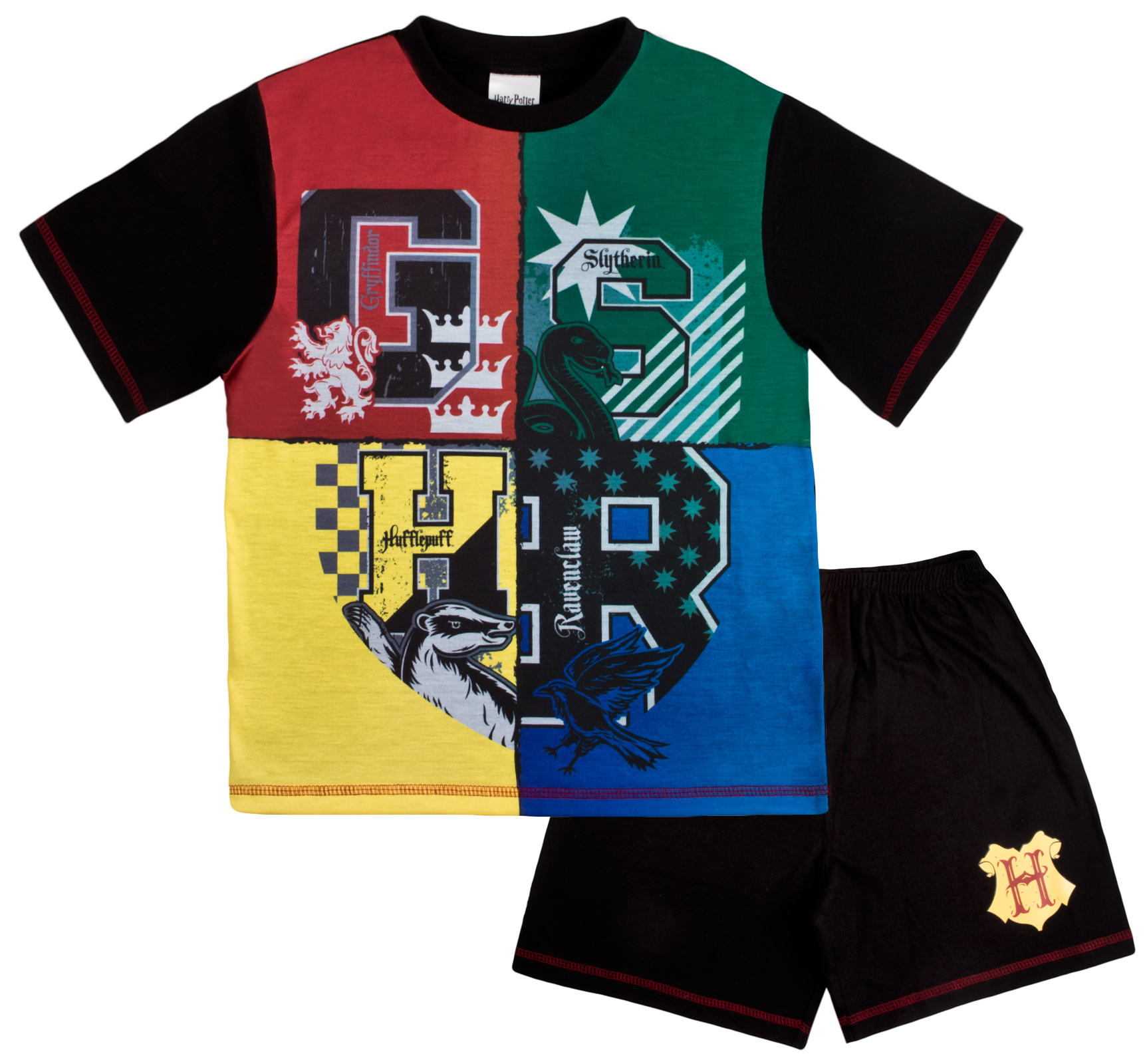 e91e095295 Harry Potter Short Pyjamas Hogwarts House Team Pyjama Set Boys Pjs Kids Size