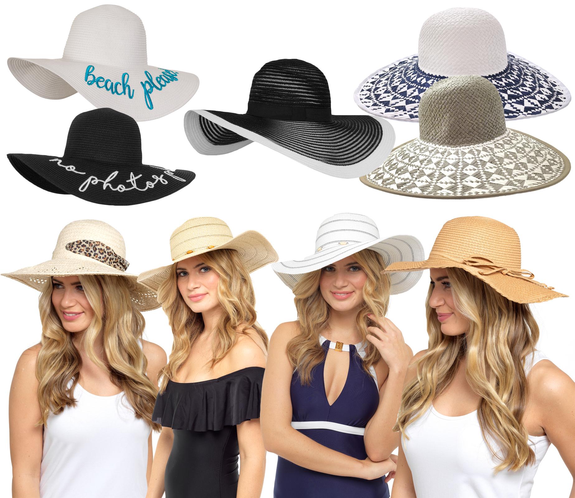 Womens Wide Brim Floppy Sun Hat Crushable Foldable Beach Summer One Size