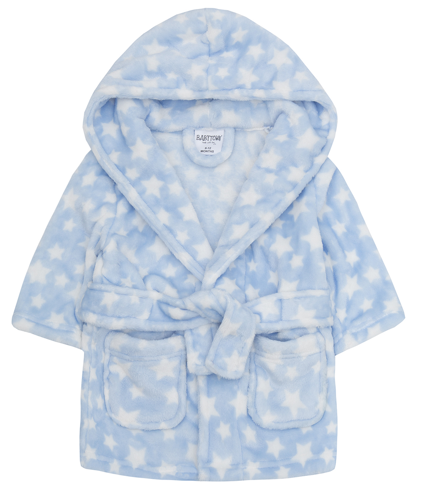 Boys Dressing Gown Plane Print Soft Hooded Fleece Blue Robe Ages 2 3 4 5 6 Years