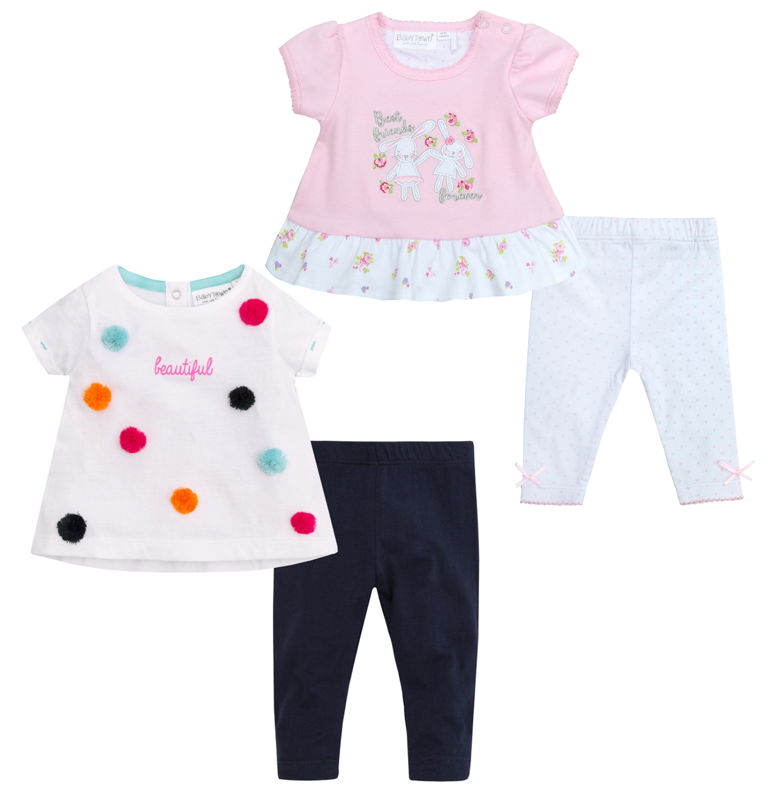 Babytown Newborn Baby Girls Pom Pom T-Shirt /& Leggings
