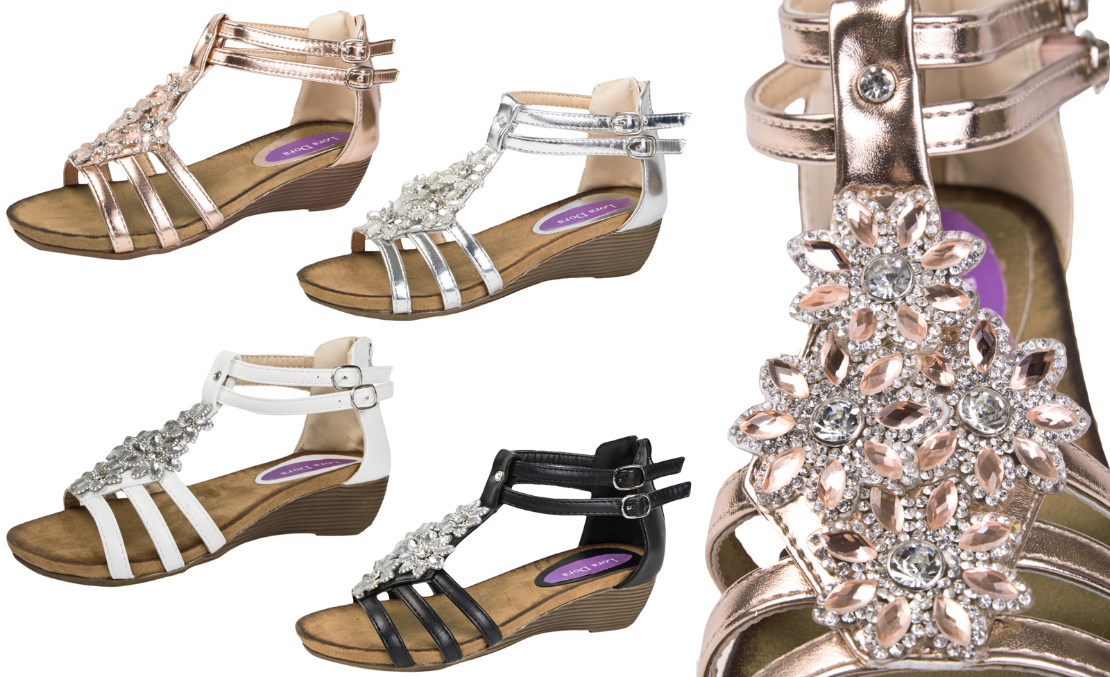 bca306968a4 Details about Womens Diamante Summer Sandals 3D Flower Low Wedge Heels  T-bar Shoes Ladies Size