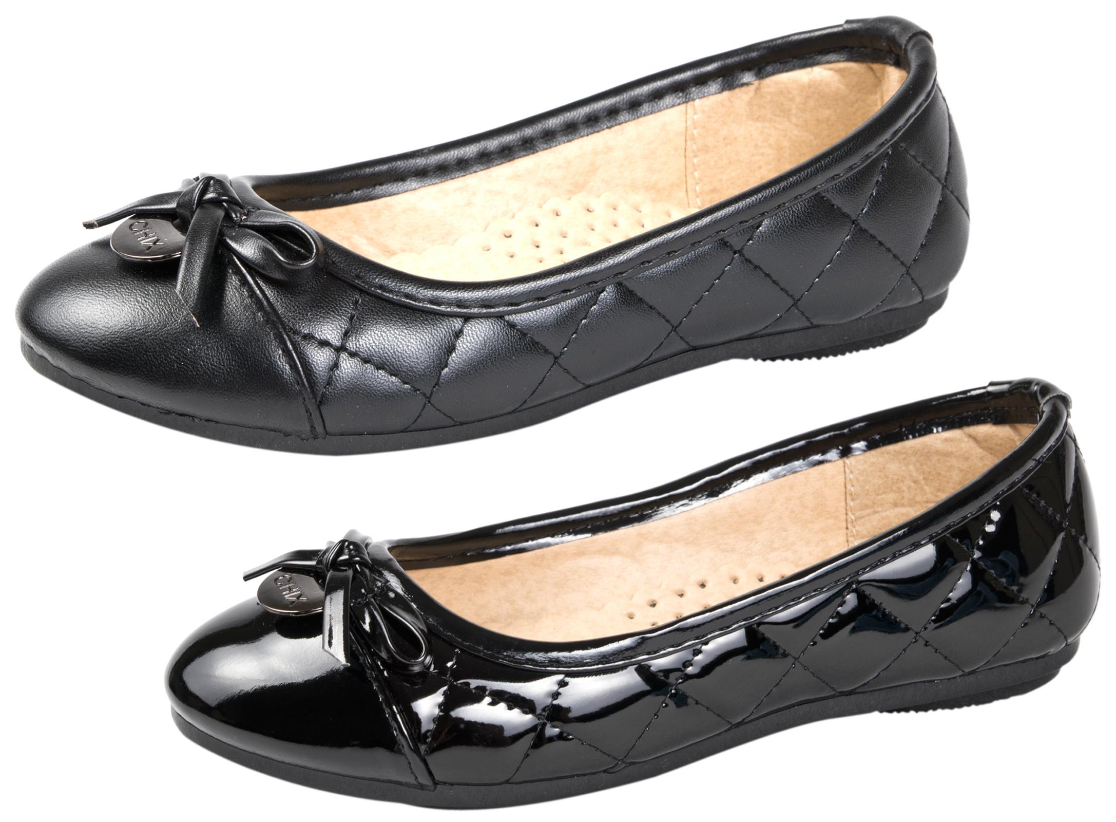 Ladies Girls Quilted Ballet Pumps Black