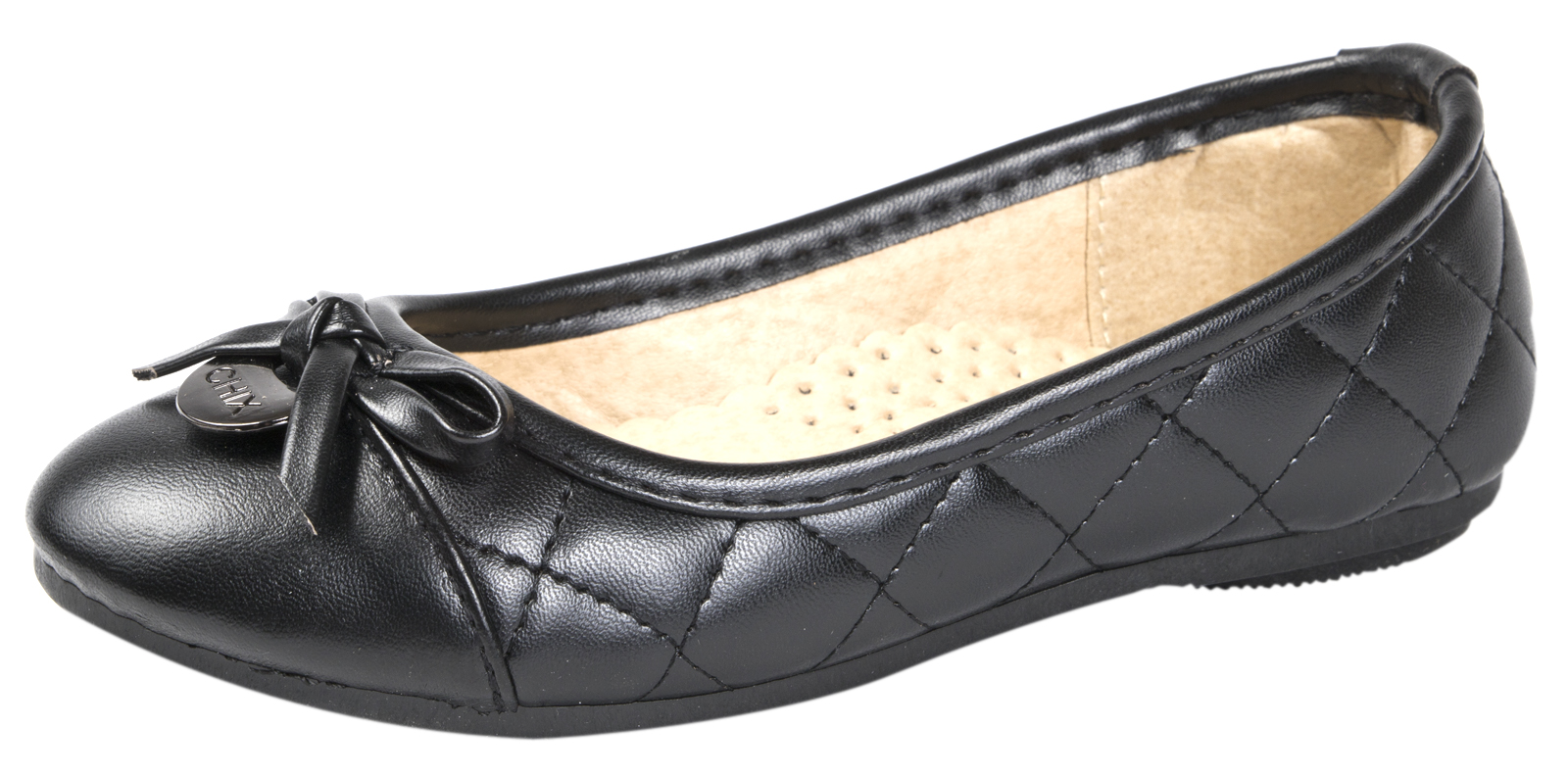 ef9d2c0d35c Ladies Girls Quilted Ballet Pumps Black Faux Leather Work School ...