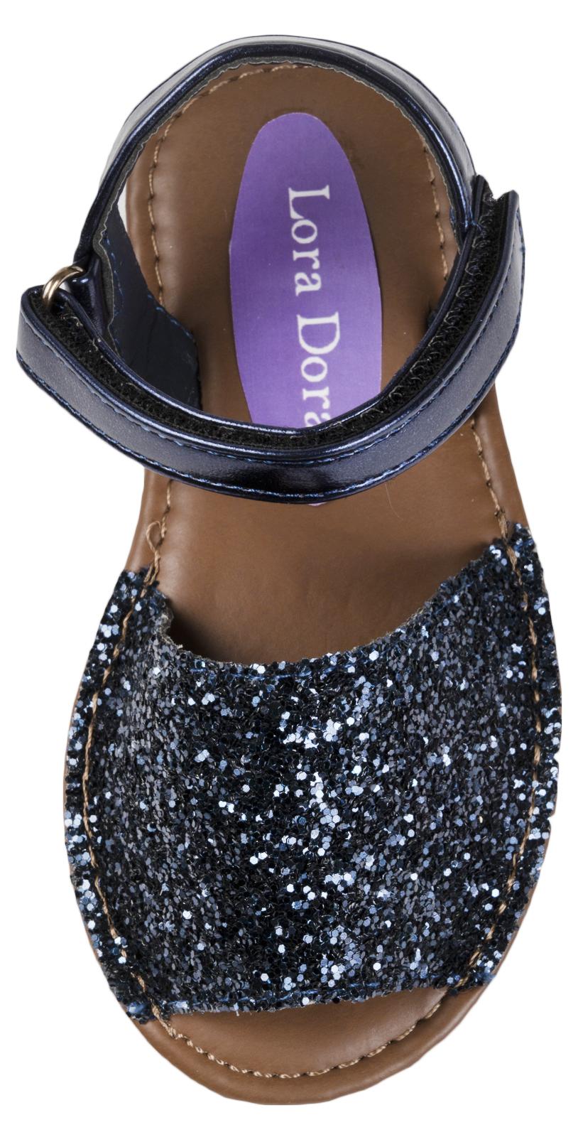 New Girls Infants Fancy Menorcan Spanish Sandals Navy Glitter 11
