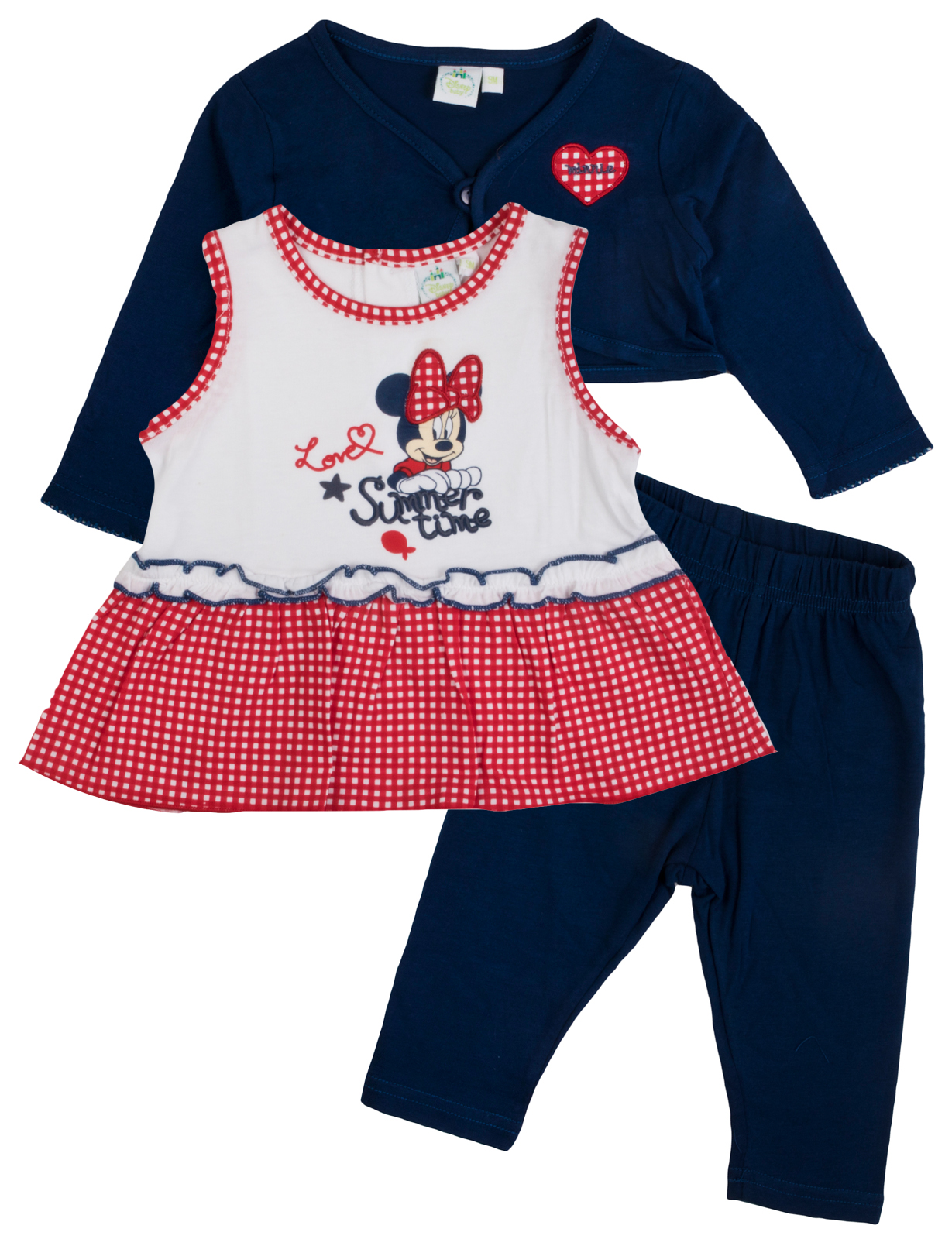 cfbbe2134337 Disney Minnie Mouse Outfit 3 Piece Set Dress Leggings + Cardigan ...