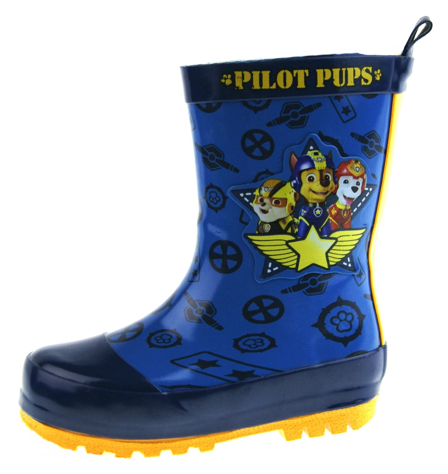 Boys Paw Patrol Wellington Boots Blue Rubber Rain Wellies Snow Boots Kids Size