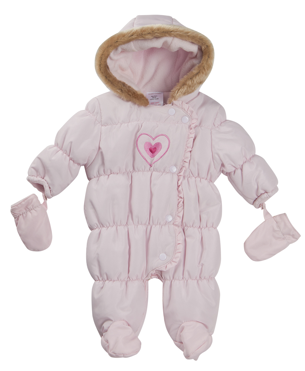 Baby Boys Girls Hooded Snowsuit Quilted Pramsuit All In
