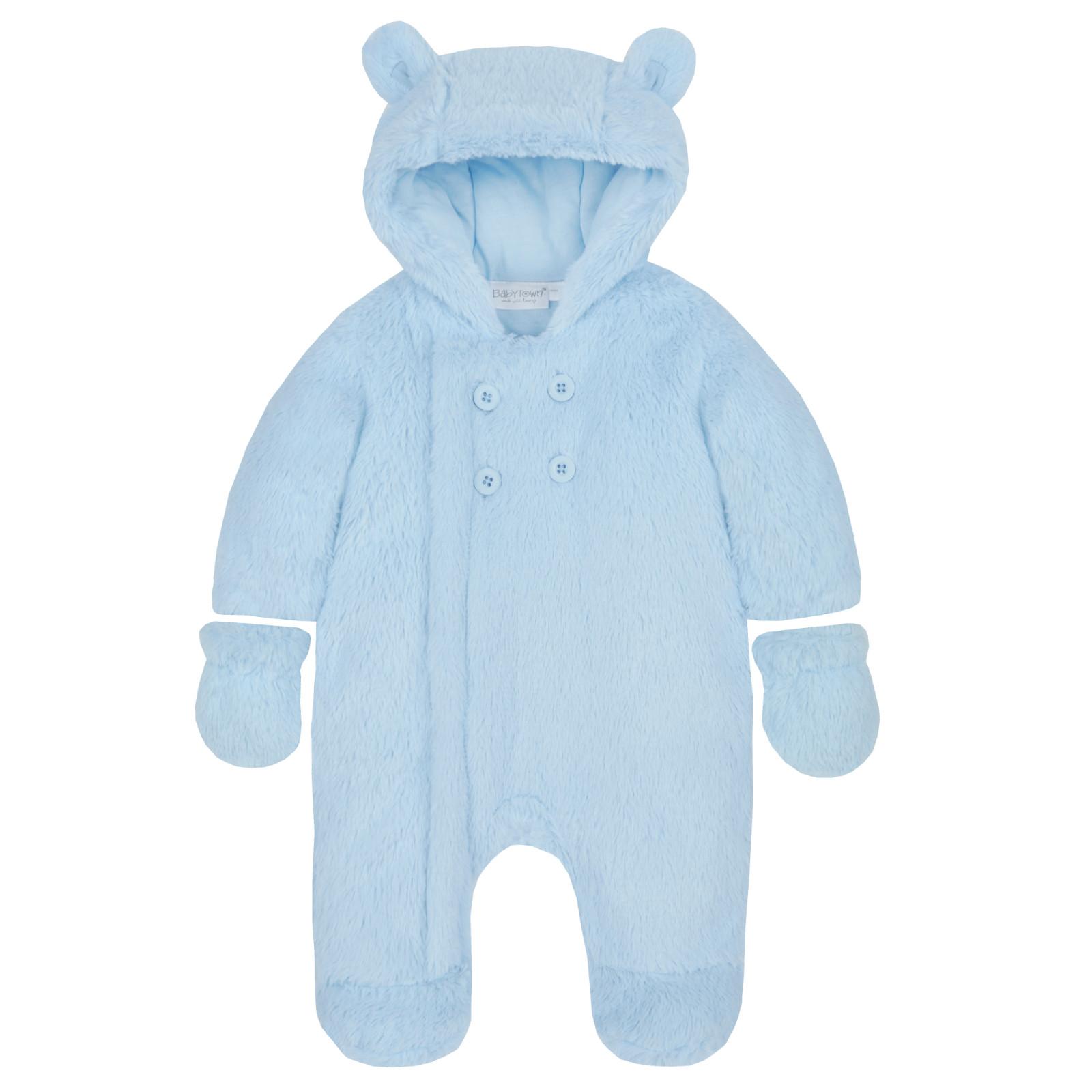 0ed8fee43a4b Baby Boys Girls Hooded Snowsuit Soft Faux Fur Fleece Pramsuit Warm ...