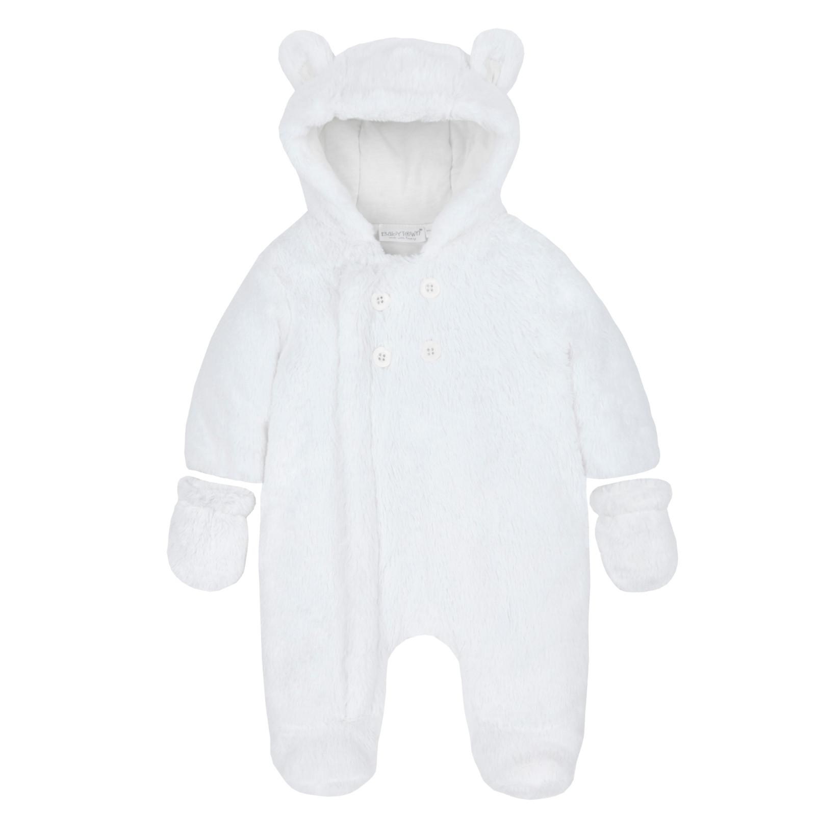 6bfff56c0 Baby Boys Girls Hooded Snowsuit Soft Faux Fur Fleece Pramsuit Warm ...