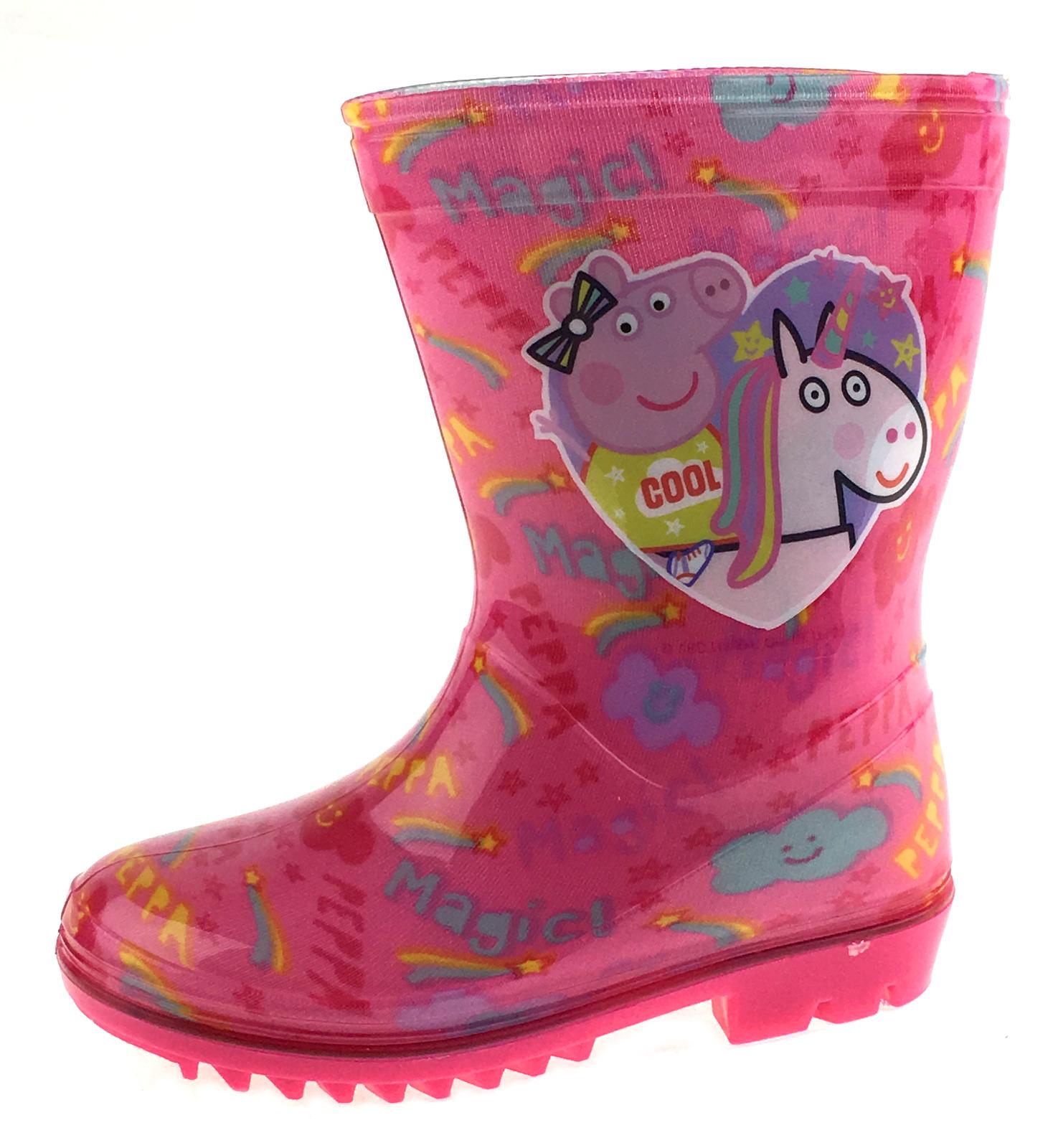 Girls-Peppa-Pig-Wellington-Boots-Mid-Calf-Gitter-Snow-Rain-Wellies-Kids-Size Indexbild 30