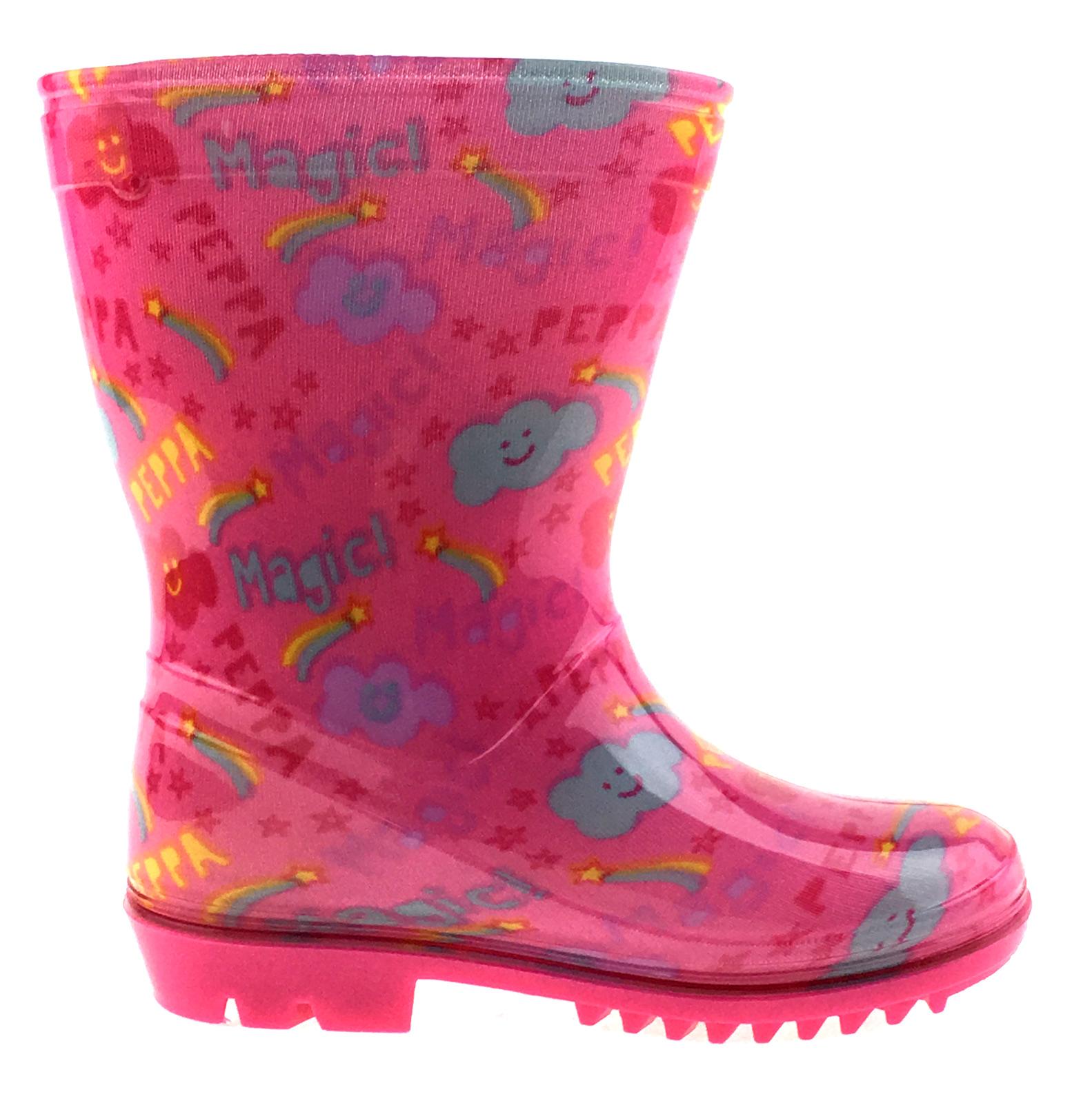 Girls-Peppa-Pig-Wellington-Boots-Mid-Calf-Gitter-Snow-Rain-Wellies-Kids-Size Indexbild 37