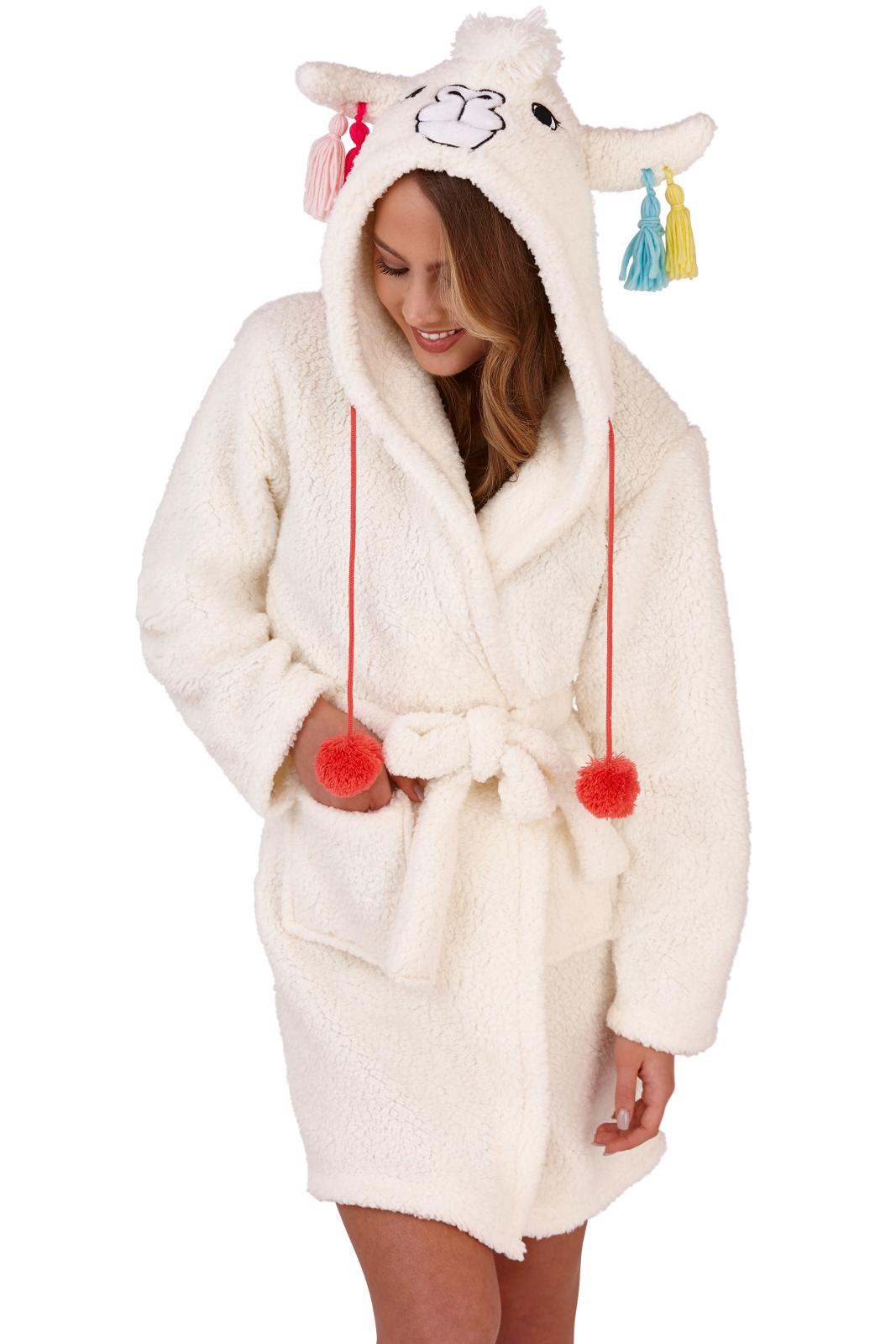 11e819dd69 Womens Llama Dressing Gown 3D Character Luxury Hooded Fleece Bath Robe  Housecoat