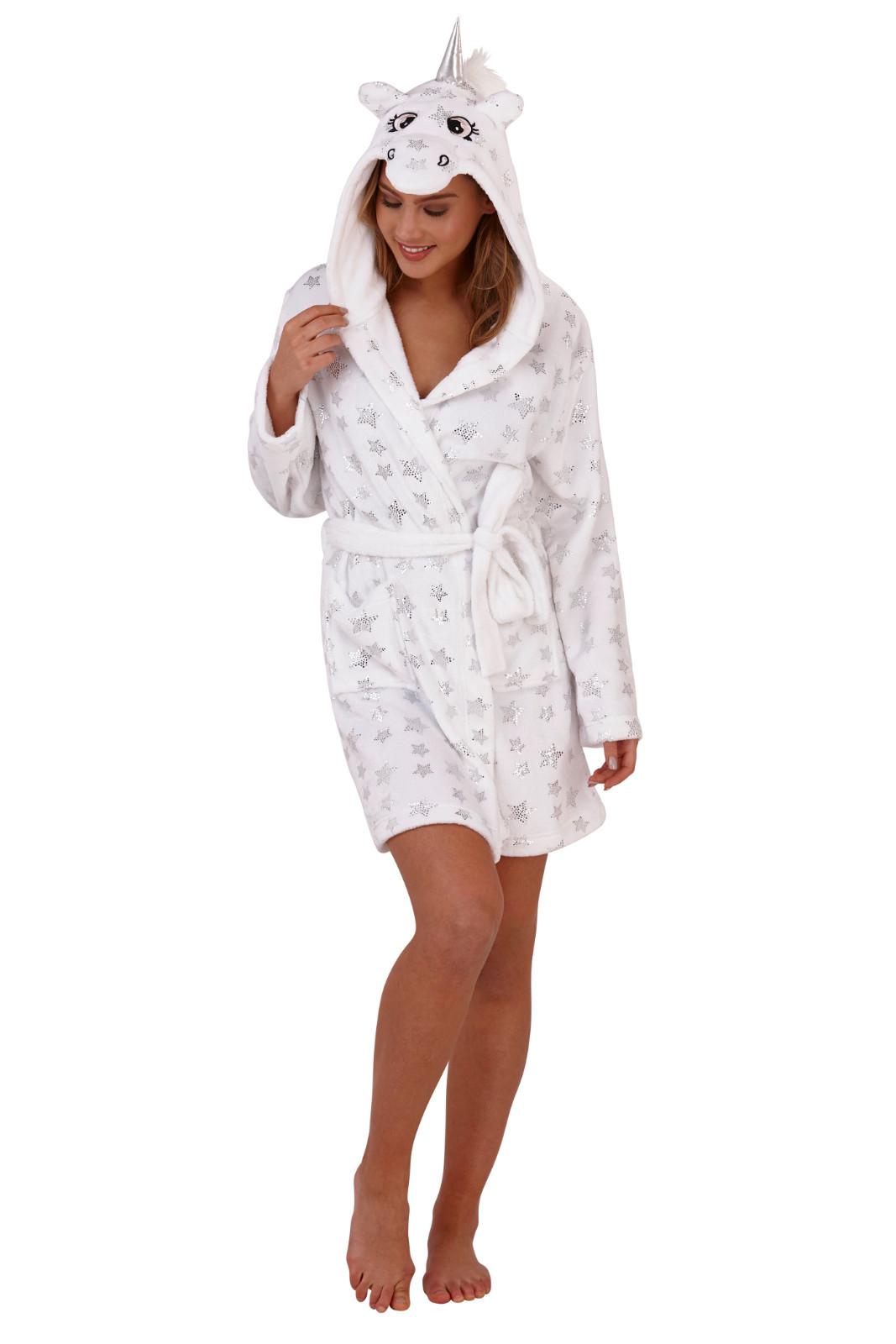 eddc12da79 Womens Star Unicorn Dressing Gown 3D Character Luxury Hooded Fleece Bath  Robe