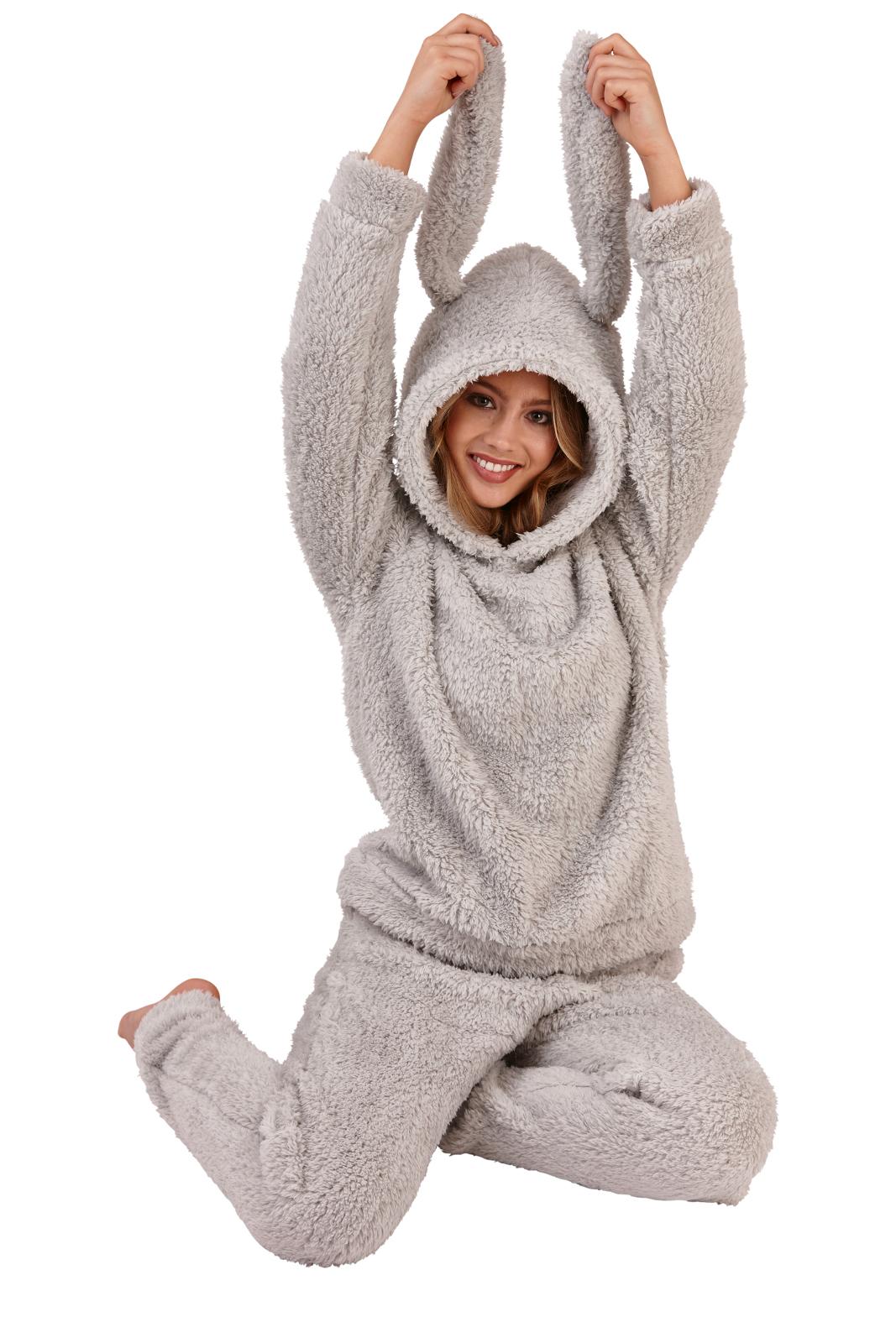 Luxury Soft Fleece Red & Cream Hedgehog Print Twosie Pyjama Pj Cowl Neck Damenmode Nachtwäsche